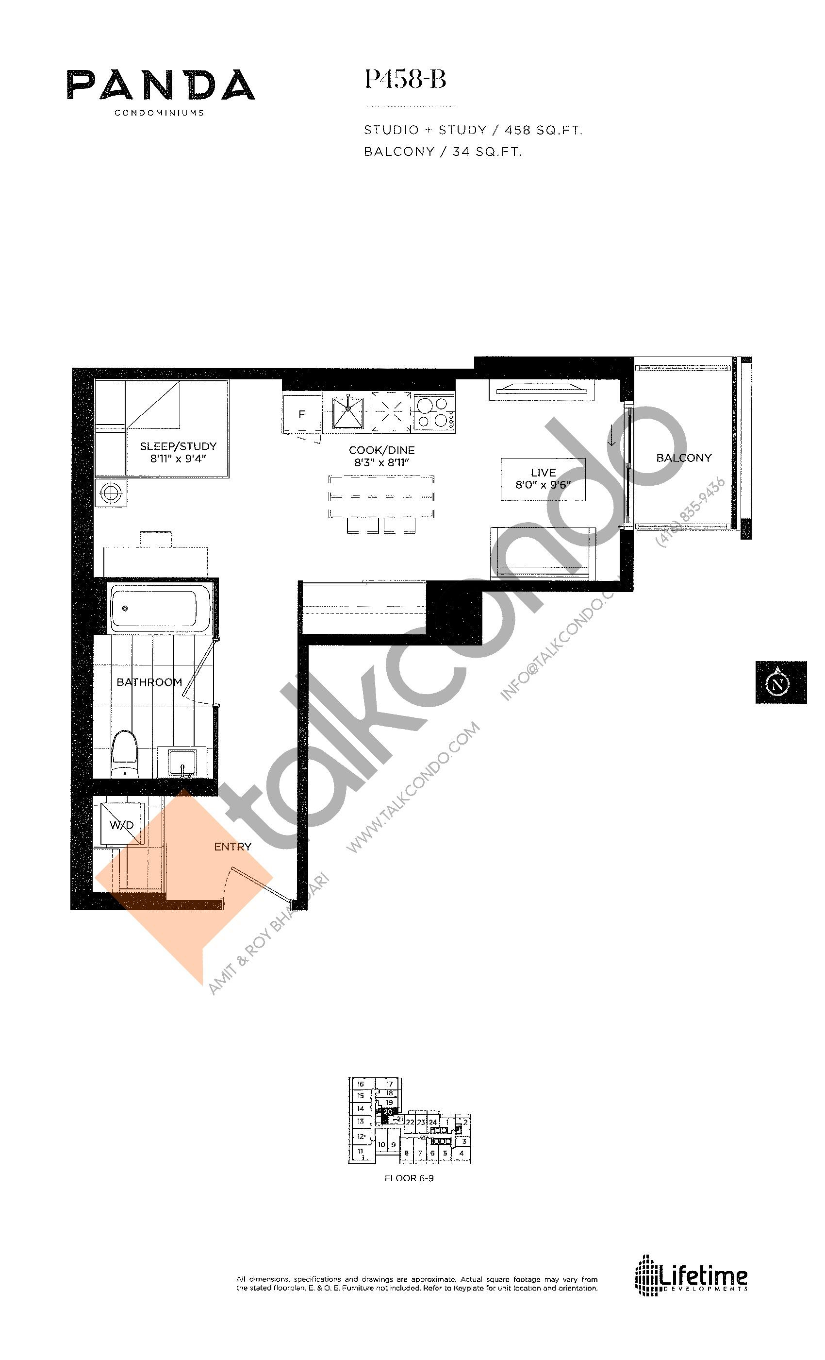 P458-B Floor Plan at Panda Condos - 458 sq.ft