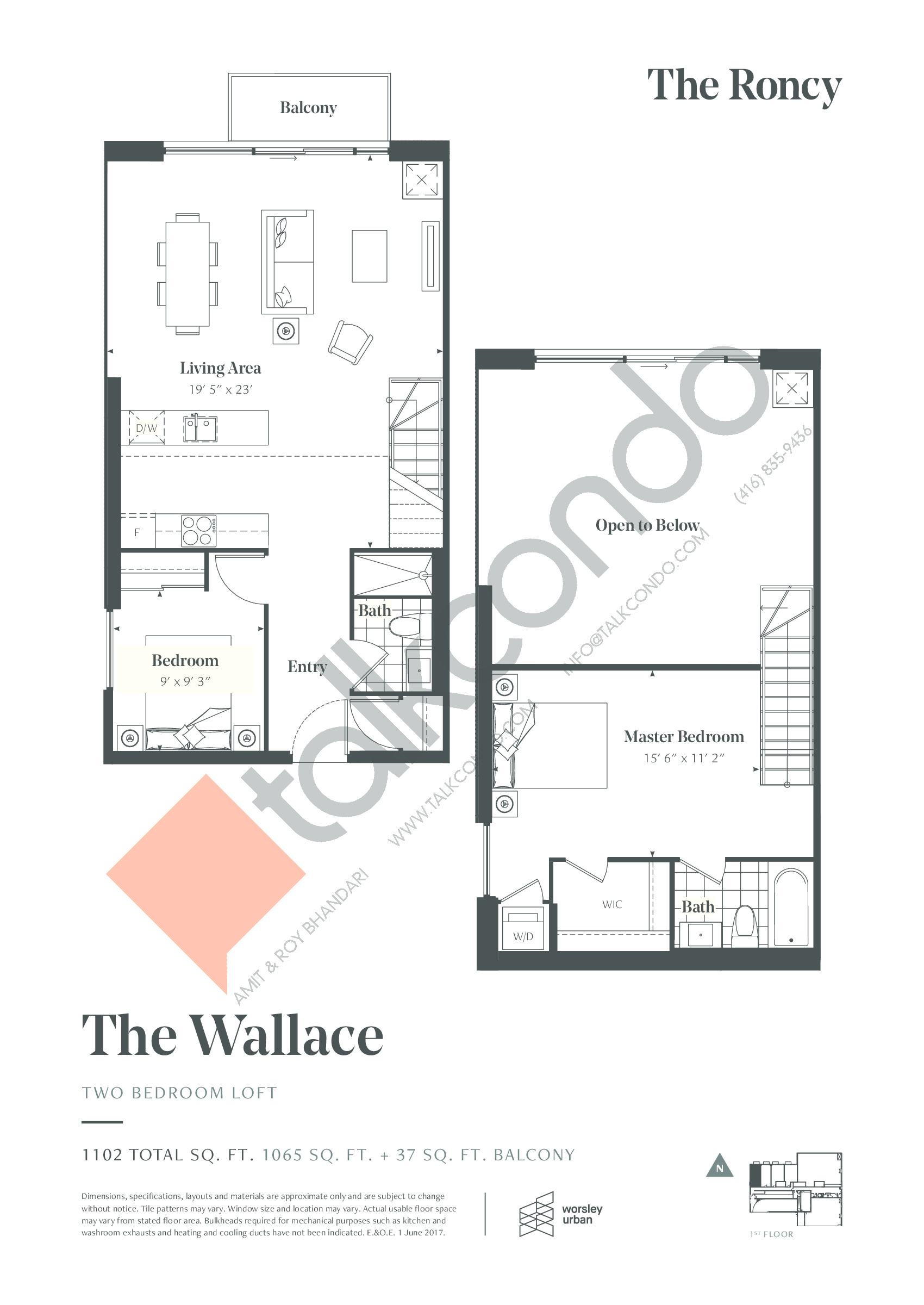 The Wallace Floor Plan at The Roncy Condos - 1065 sq.ft