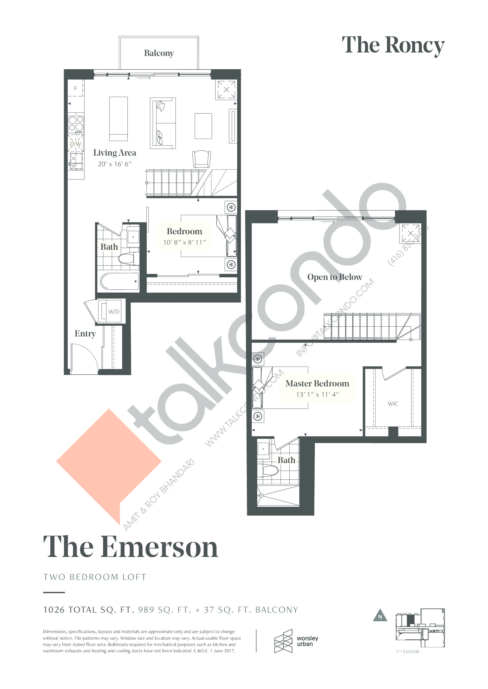 The Emerson Floor Plan at The Roncy Condos - 989 sq.ft