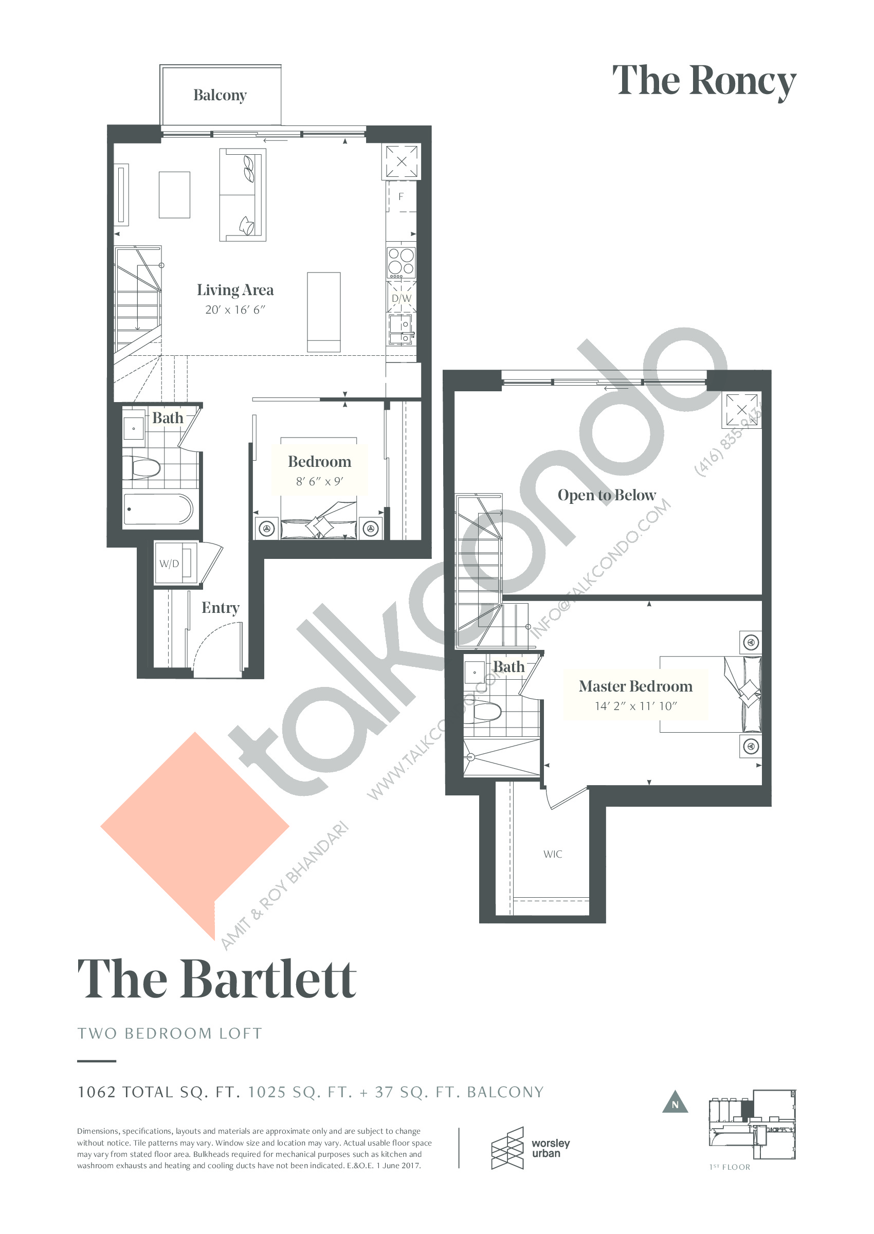 The Bartlett Floor Plan at The Roncy Condos - 1025 sq.ft