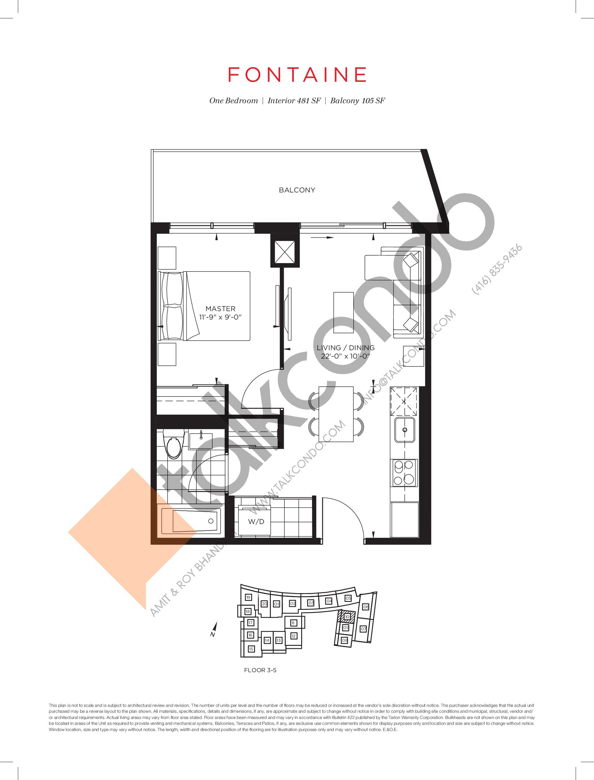 Fontaine Floor Plan at The Point at Emerald City Condos - 481 sq.ft