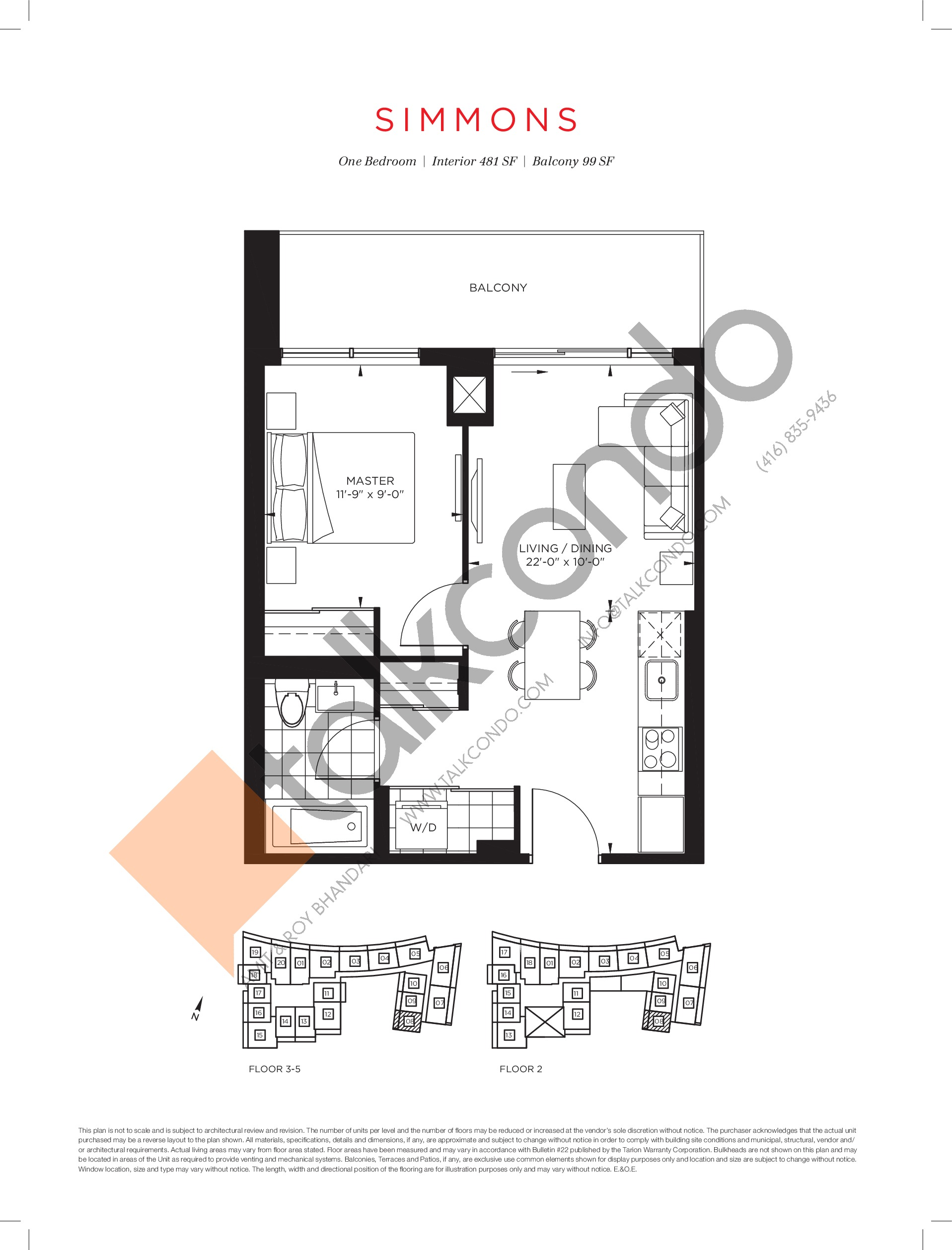 Simmons Floor Plan at The Point at Emerald City Condos - 481 sq.ft