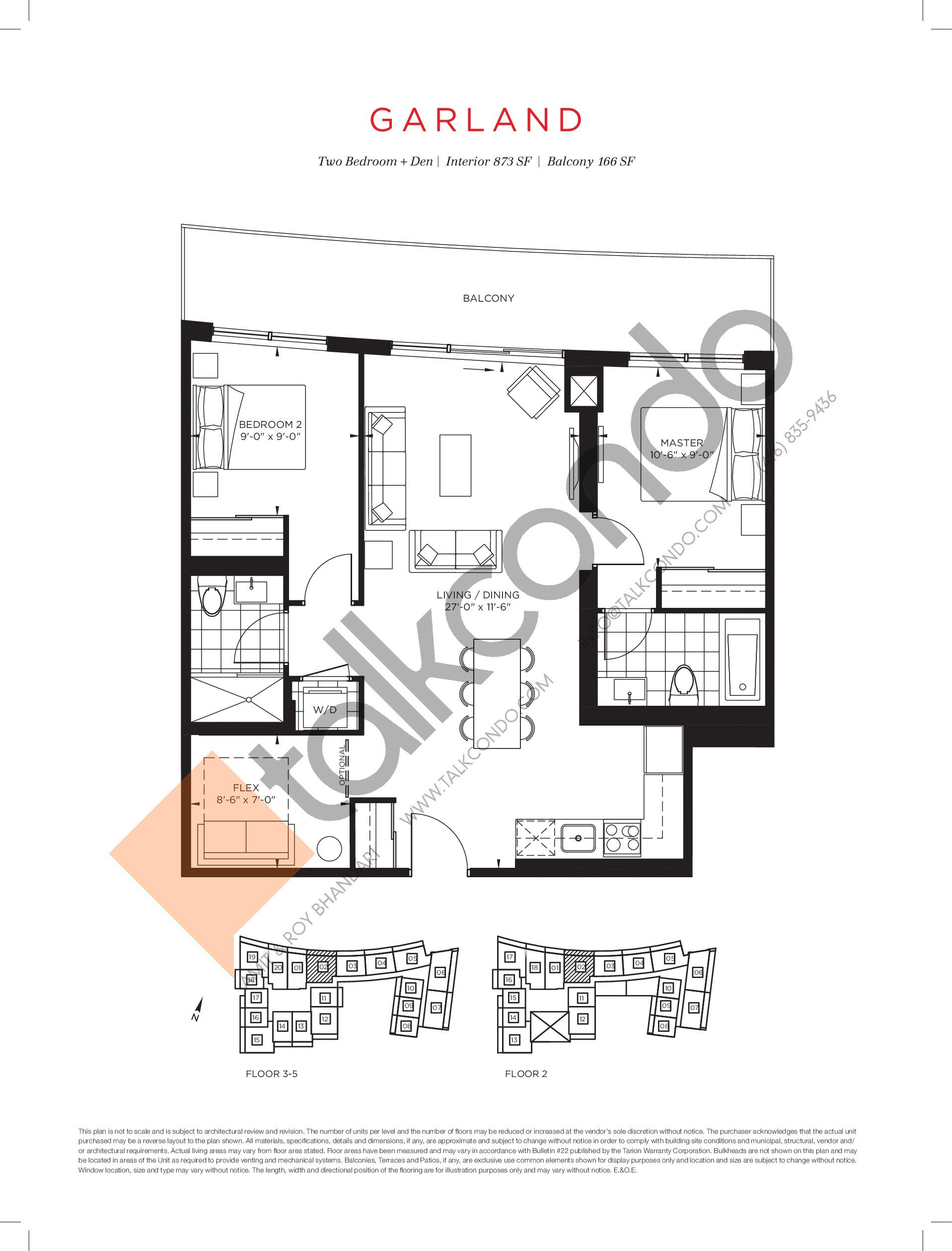 Garland Floor Plan at The Point at Emerald City Condos - 873 sq.ft