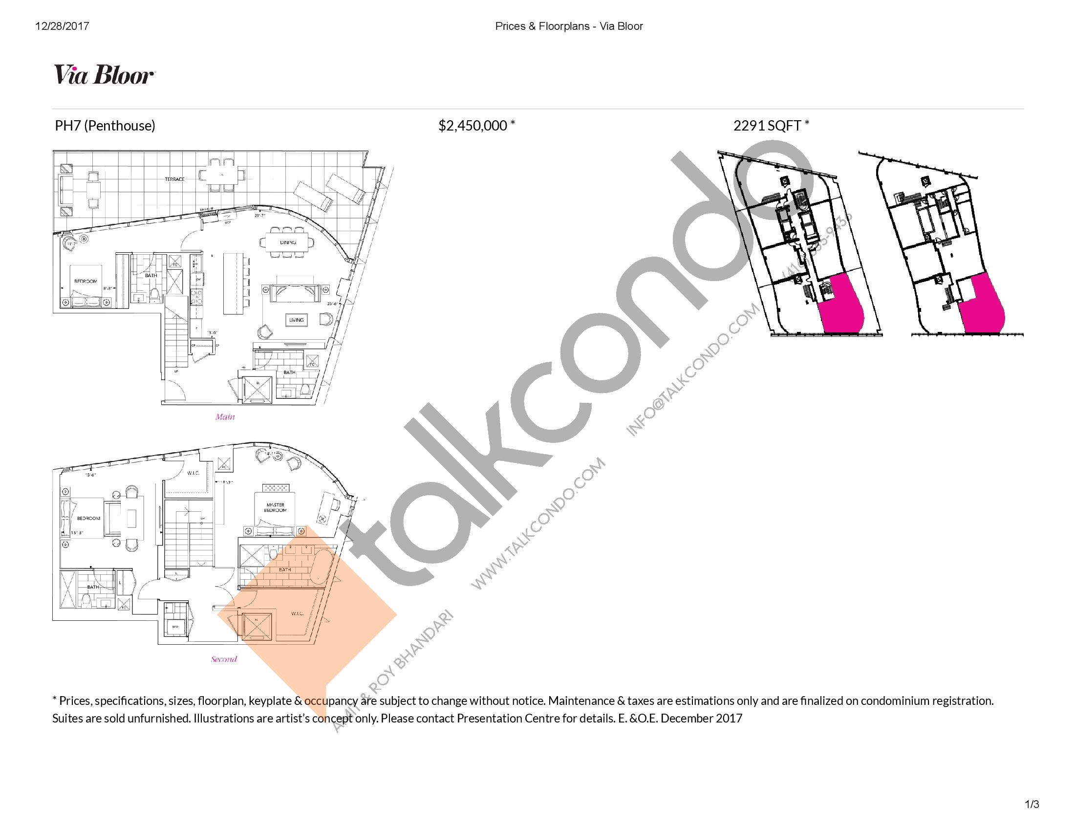 PH7 Floor Plan at Via Bloor Condos - 2291 sq.ft