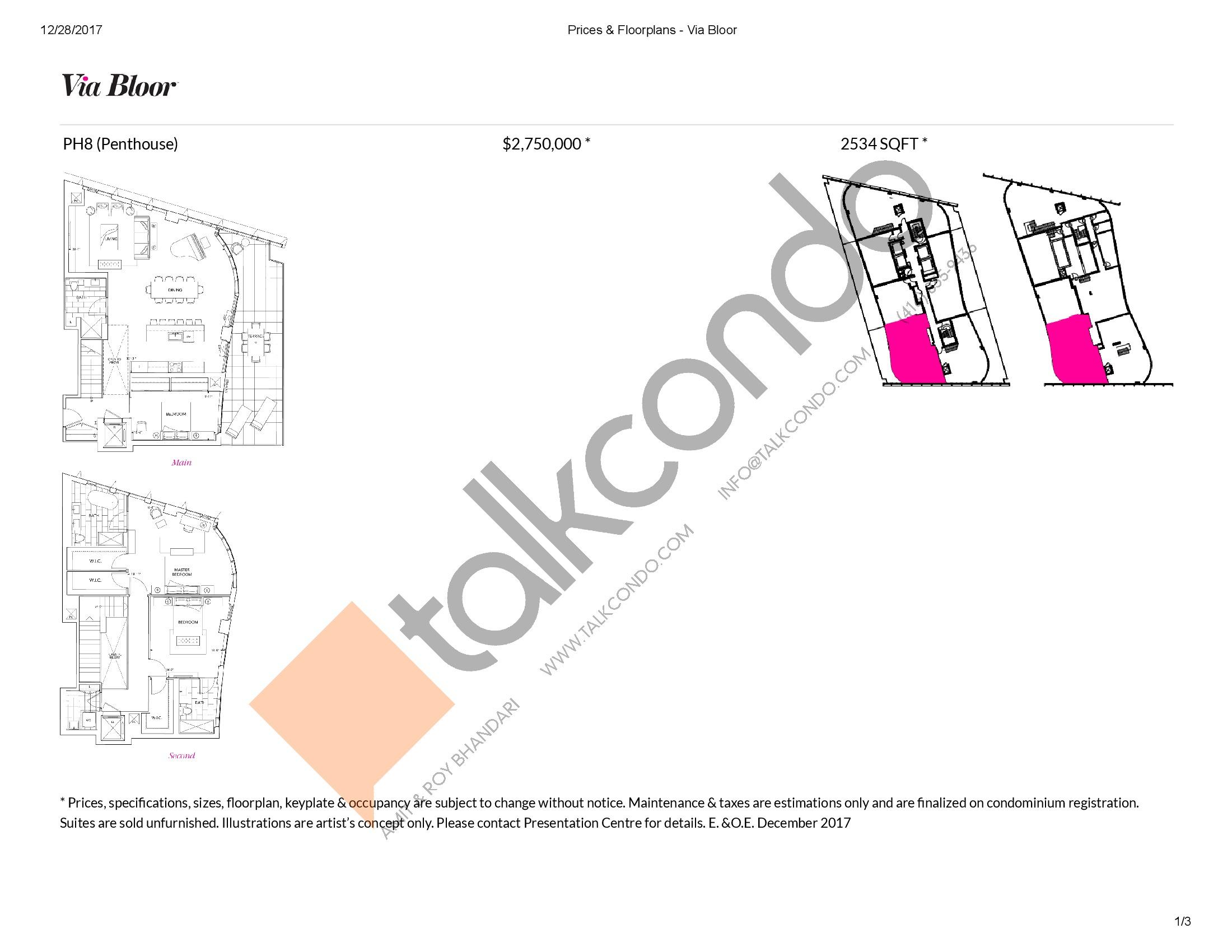Via Bloor Condos | PH8 | 2534 sq ft  | 3 bedrooms