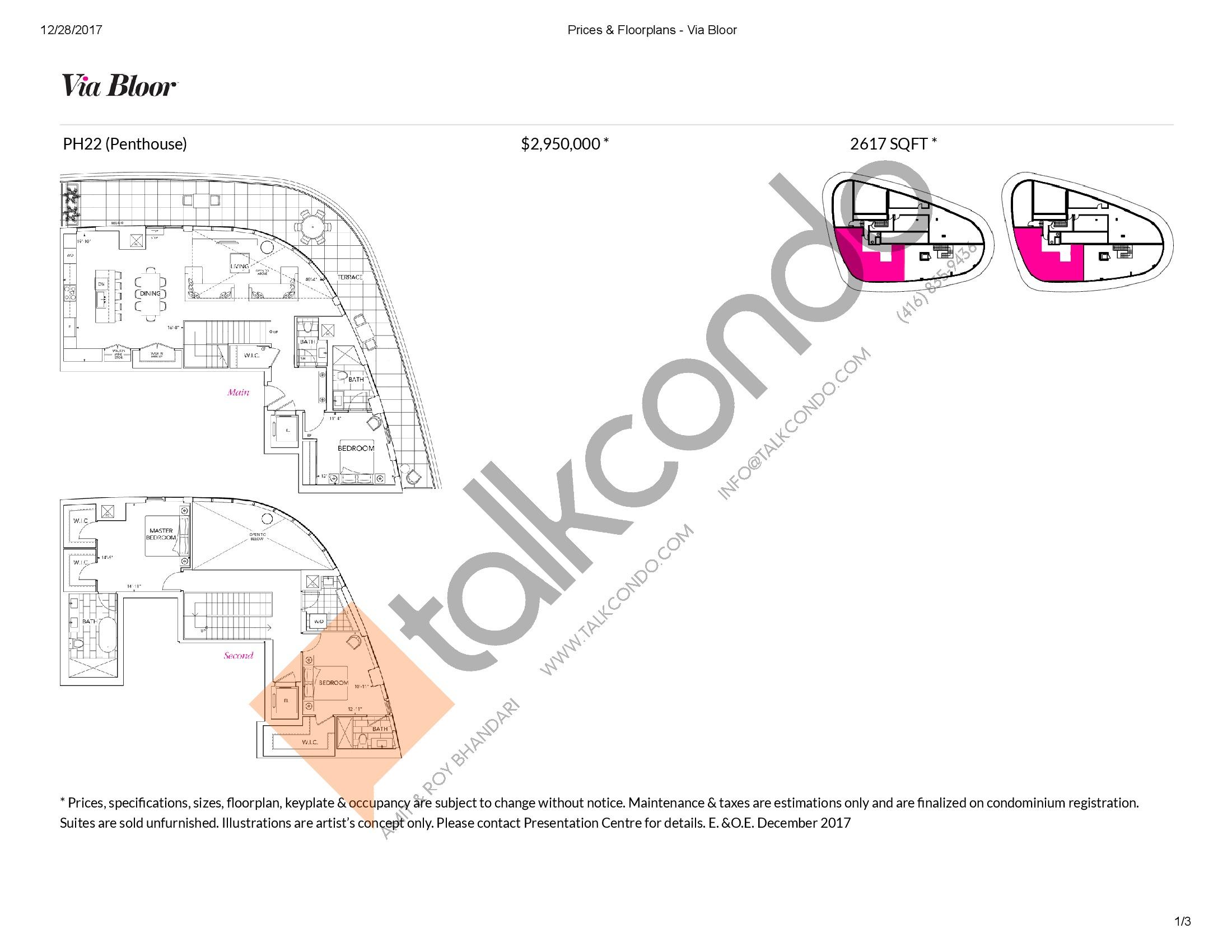 PH22 Floor Plan at Via Bloor Condos - 2617 sq.ft