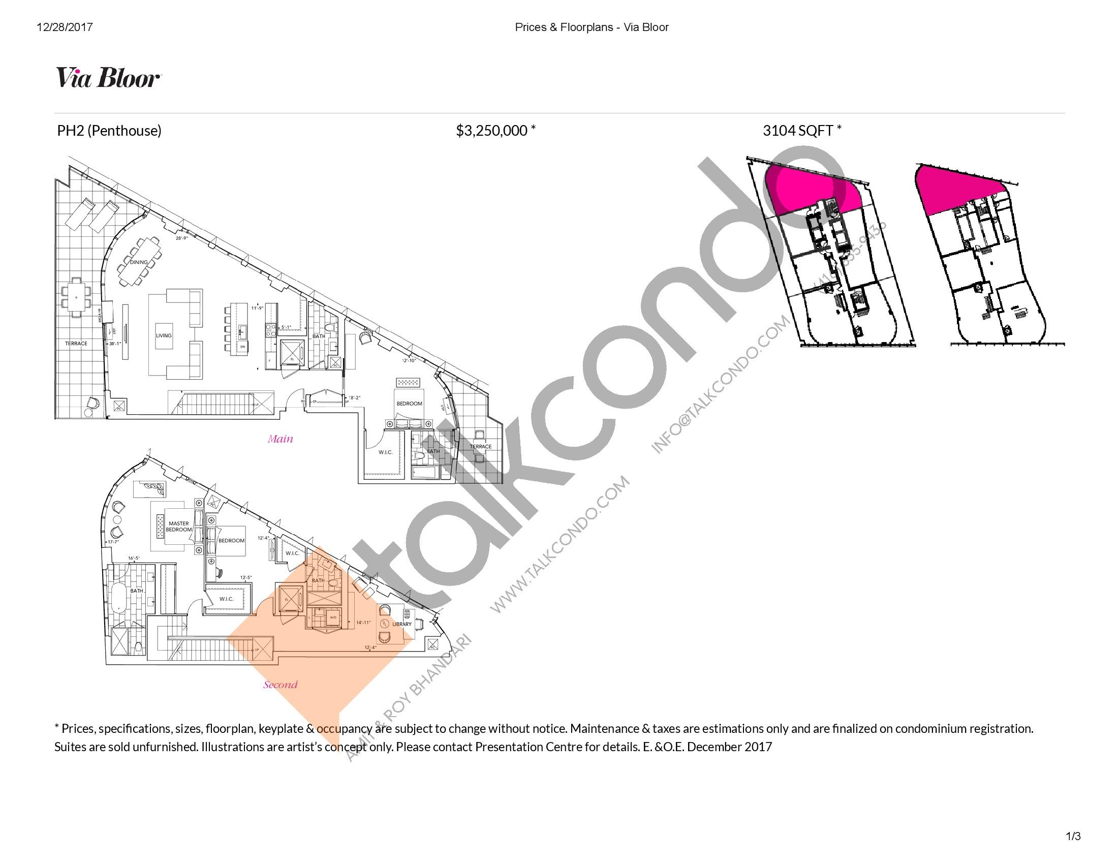PH2 Floor Plan at Via Bloor Condos - 3104 sq.ft