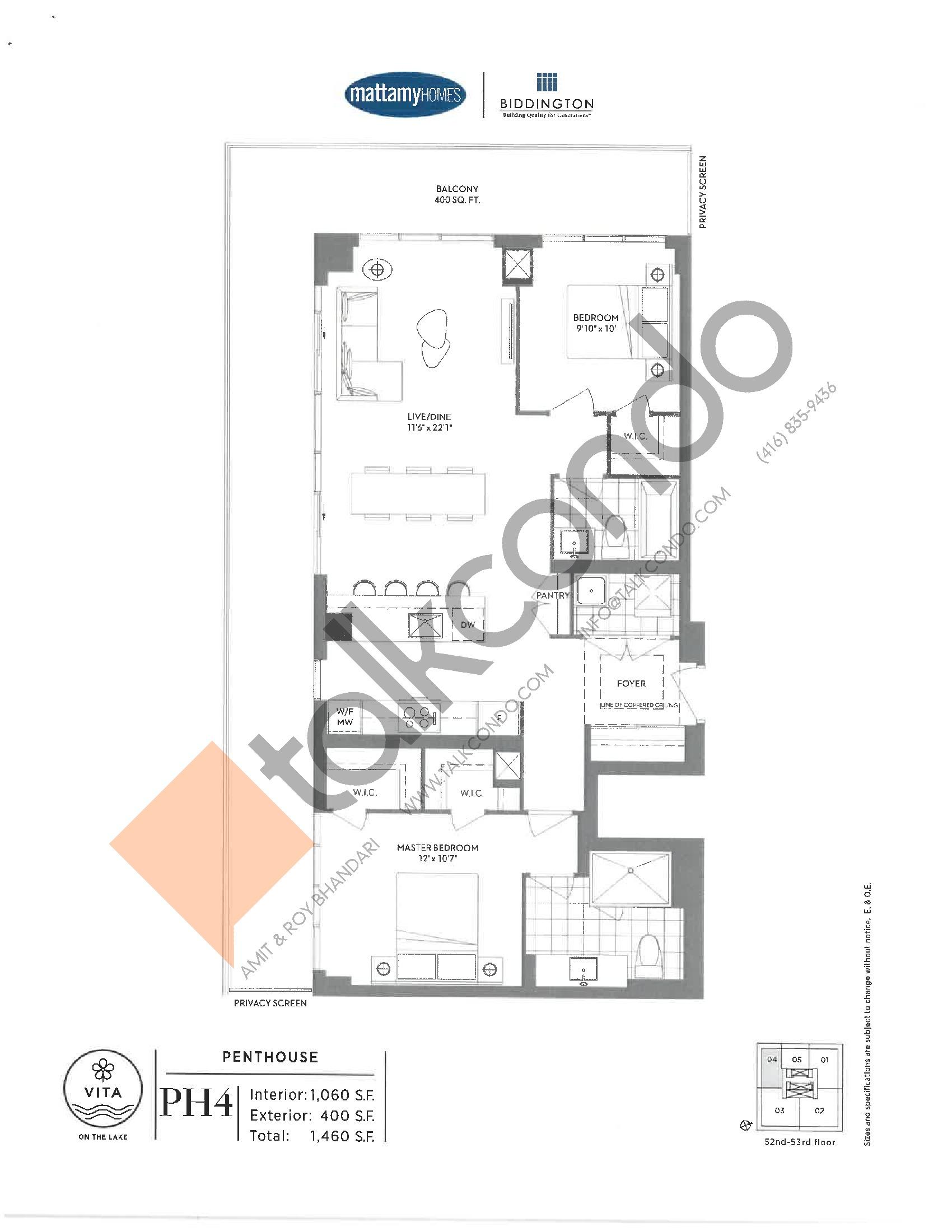 PH4 Floor Plan at Vita on the Lake Condos - 1060 sq.ft
