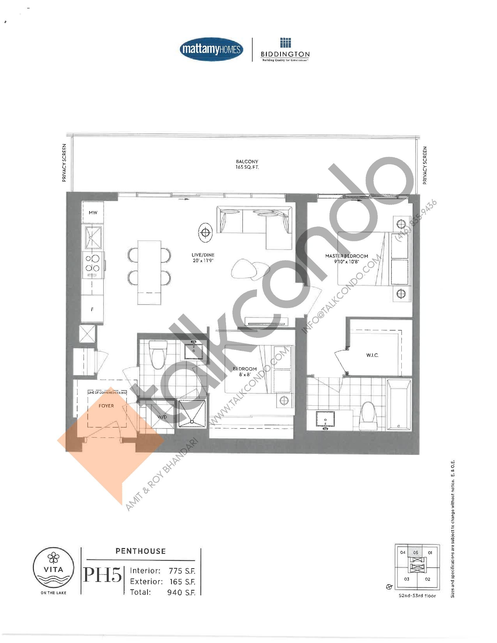 PH5 Floor Plan at Vita on the Lake Condos - 775 sq.ft