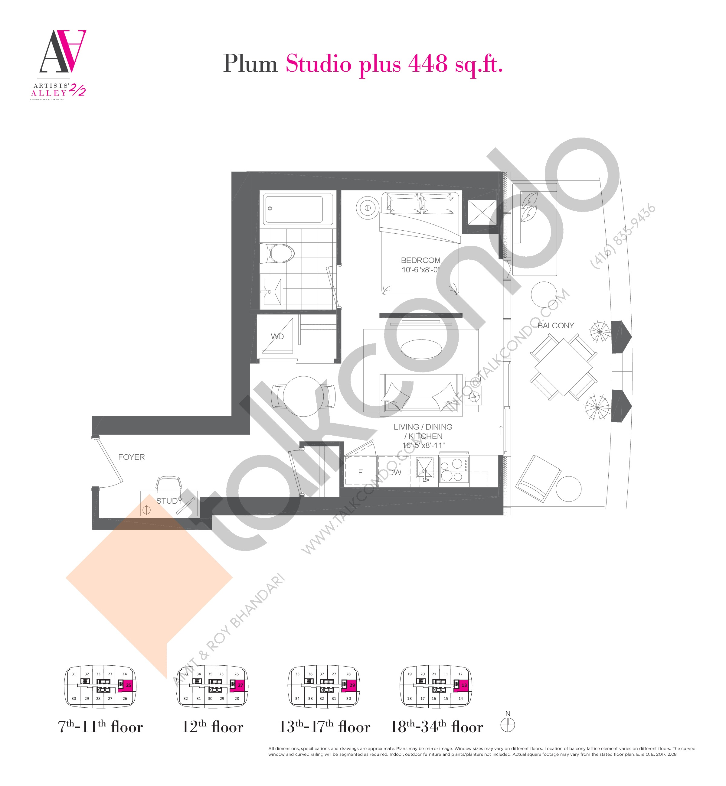 Plum Floor Plan at Artists' Alley 2 Condos - 448 sq.ft