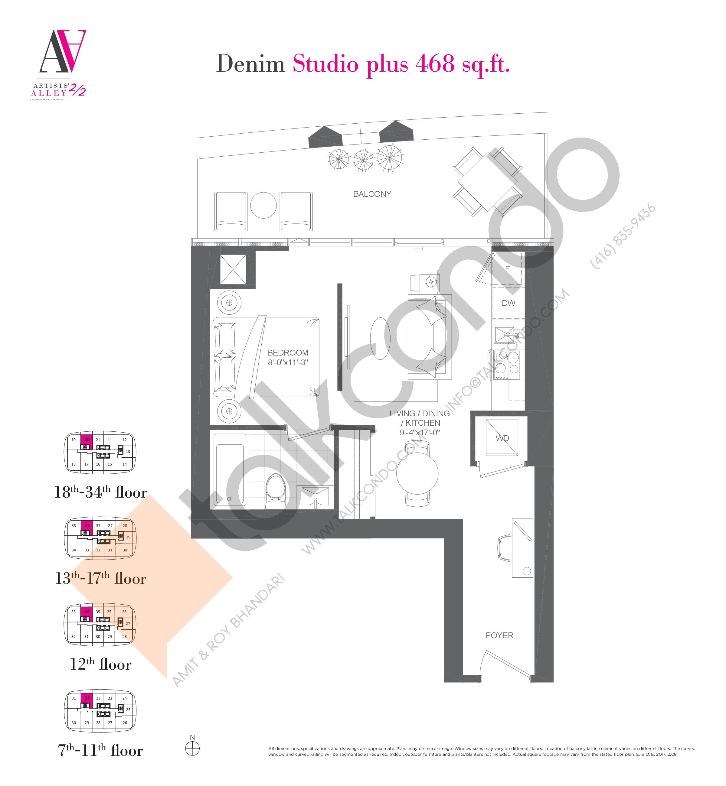 Denim Floor Plan at Artists' Alley 2 Condos - 468 sq.ft