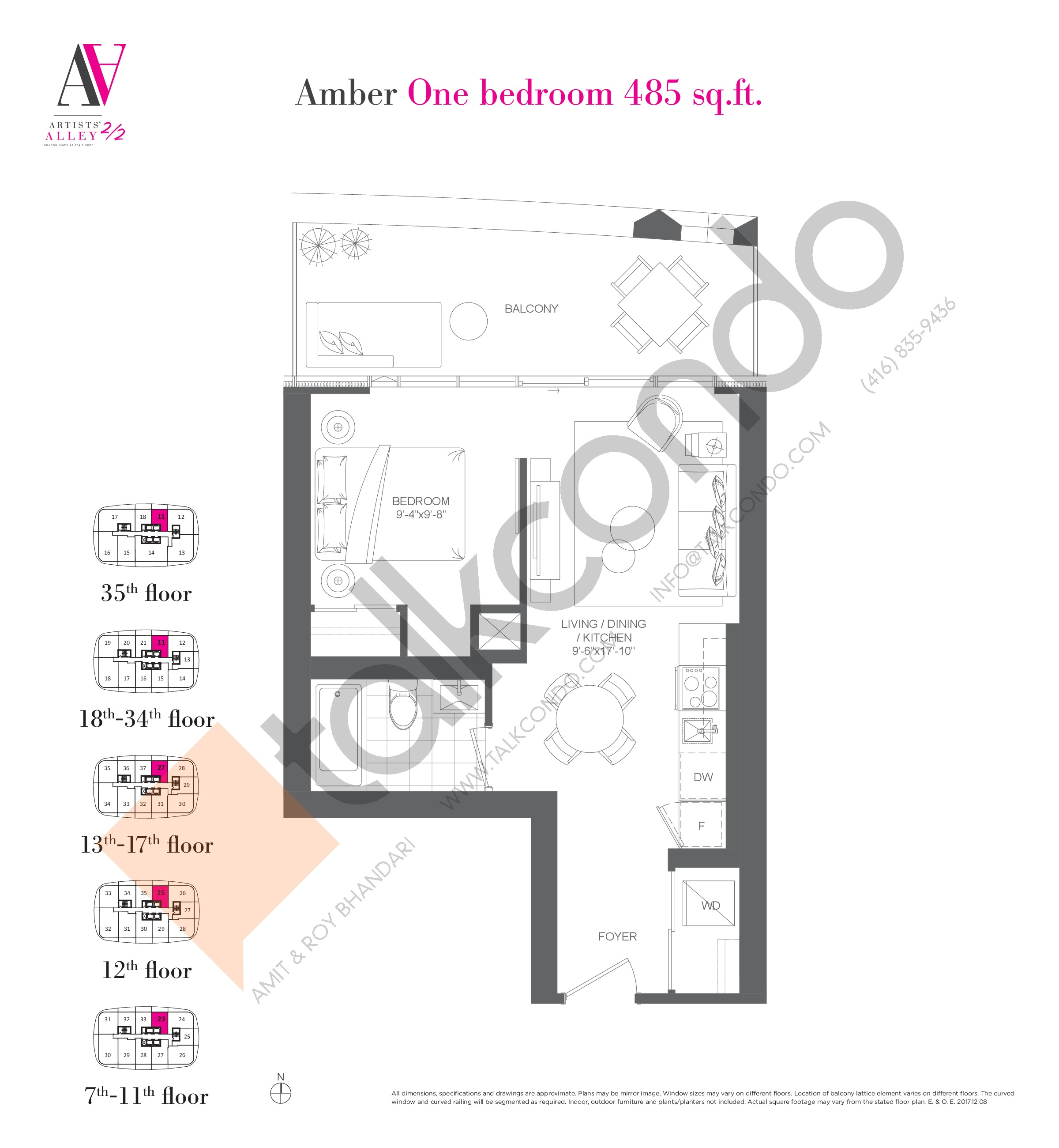 Amber Floor Plan at Artists' Alley 2 Condos - 485 sq.ft