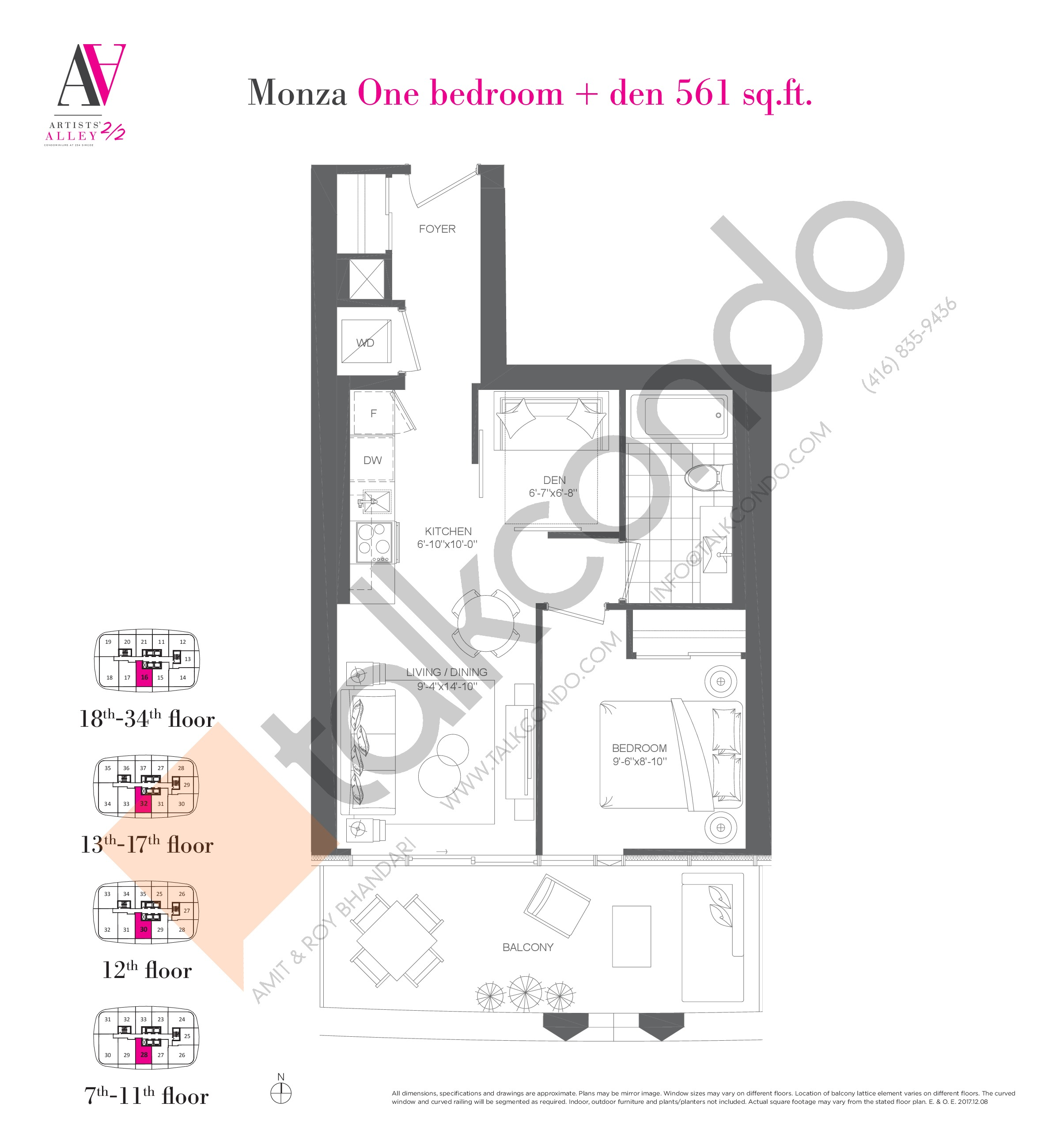 Monza Floor Plan at Artists' Alley 2 Condos - 561 sq.ft