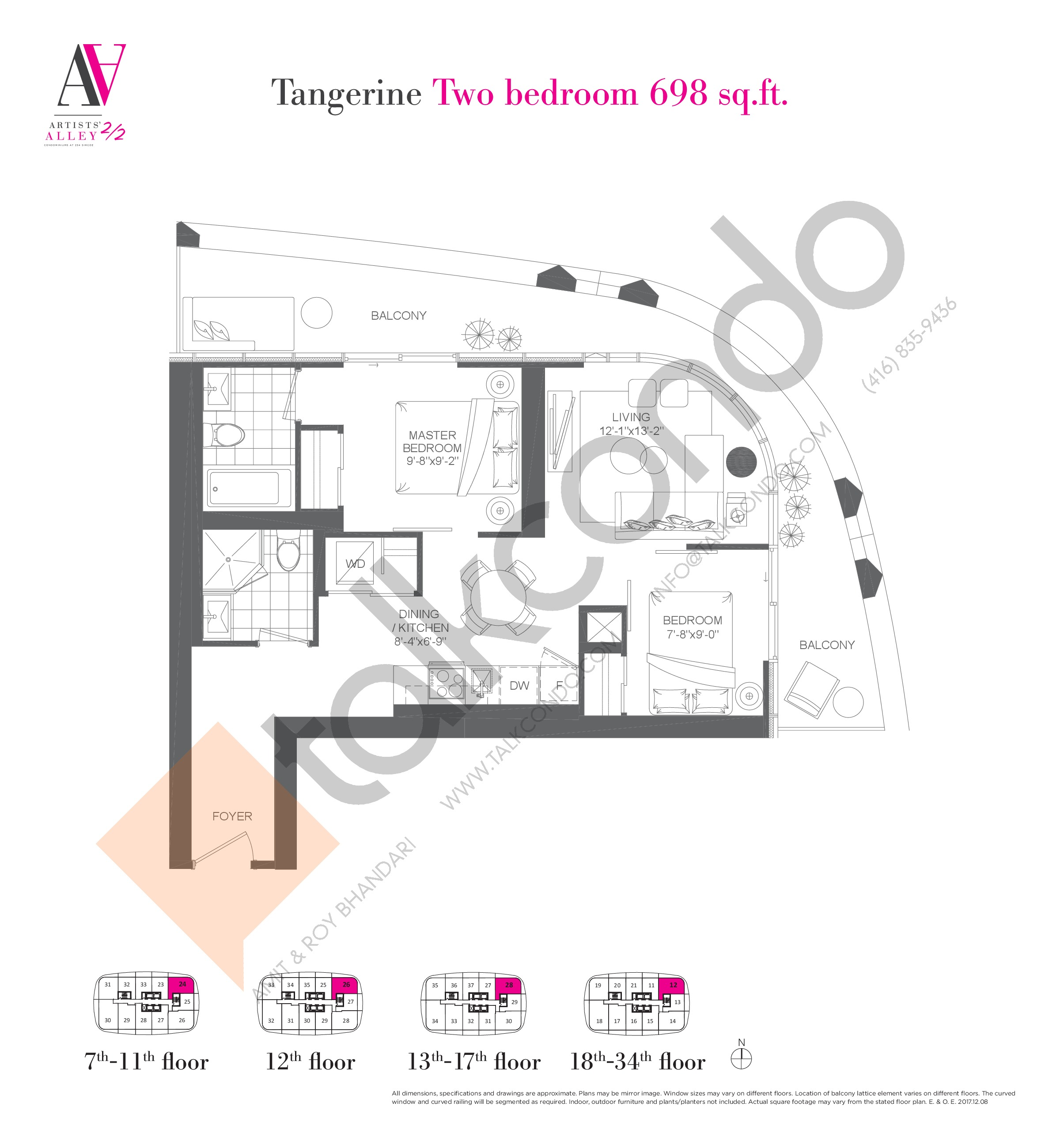 Tangerine Floor Plan at Artists' Alley 2 Condos - 698 sq.ft