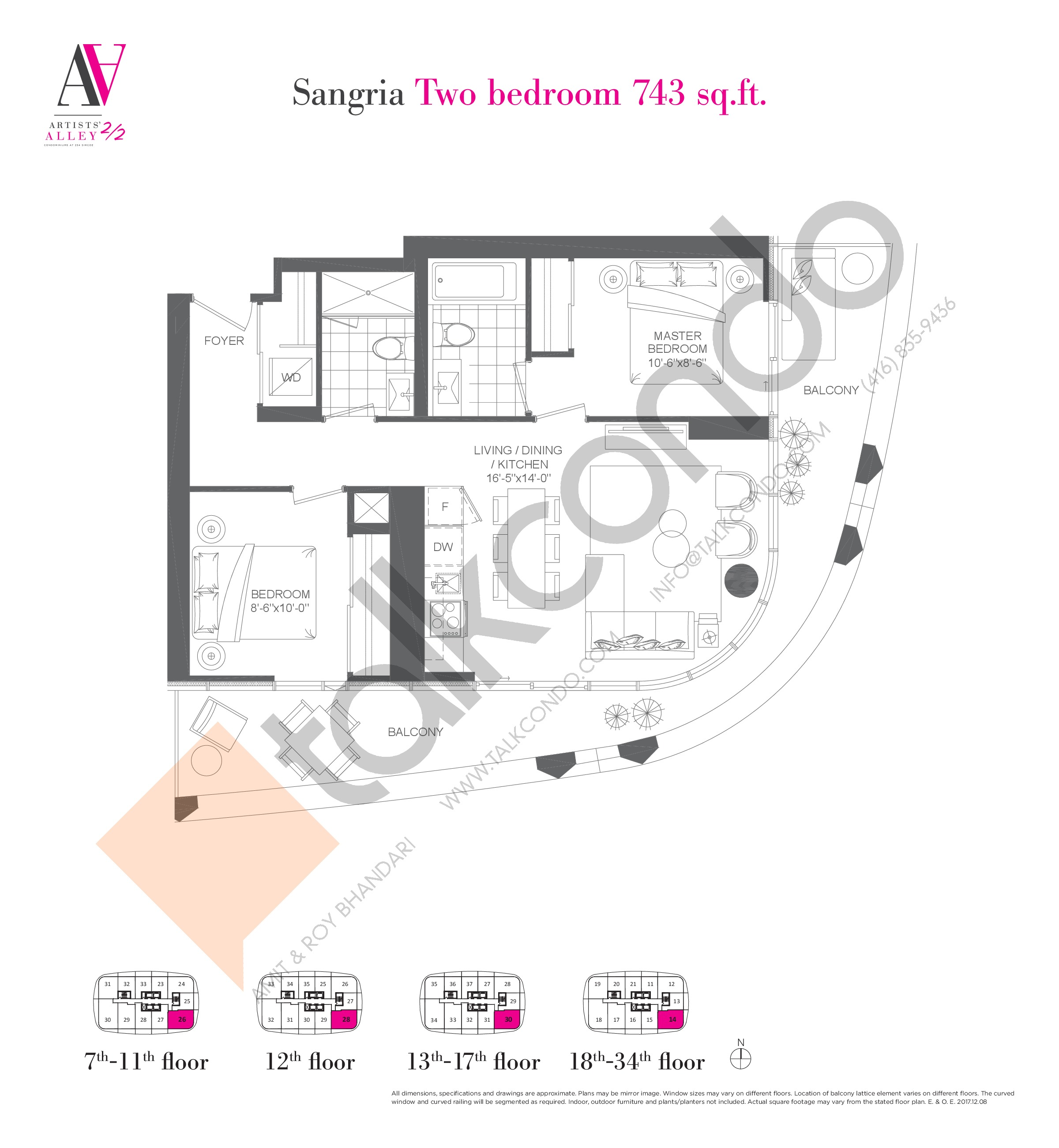 Sangria Floor Plan at Artists' Alley 2 Condos - 743 sq.ft