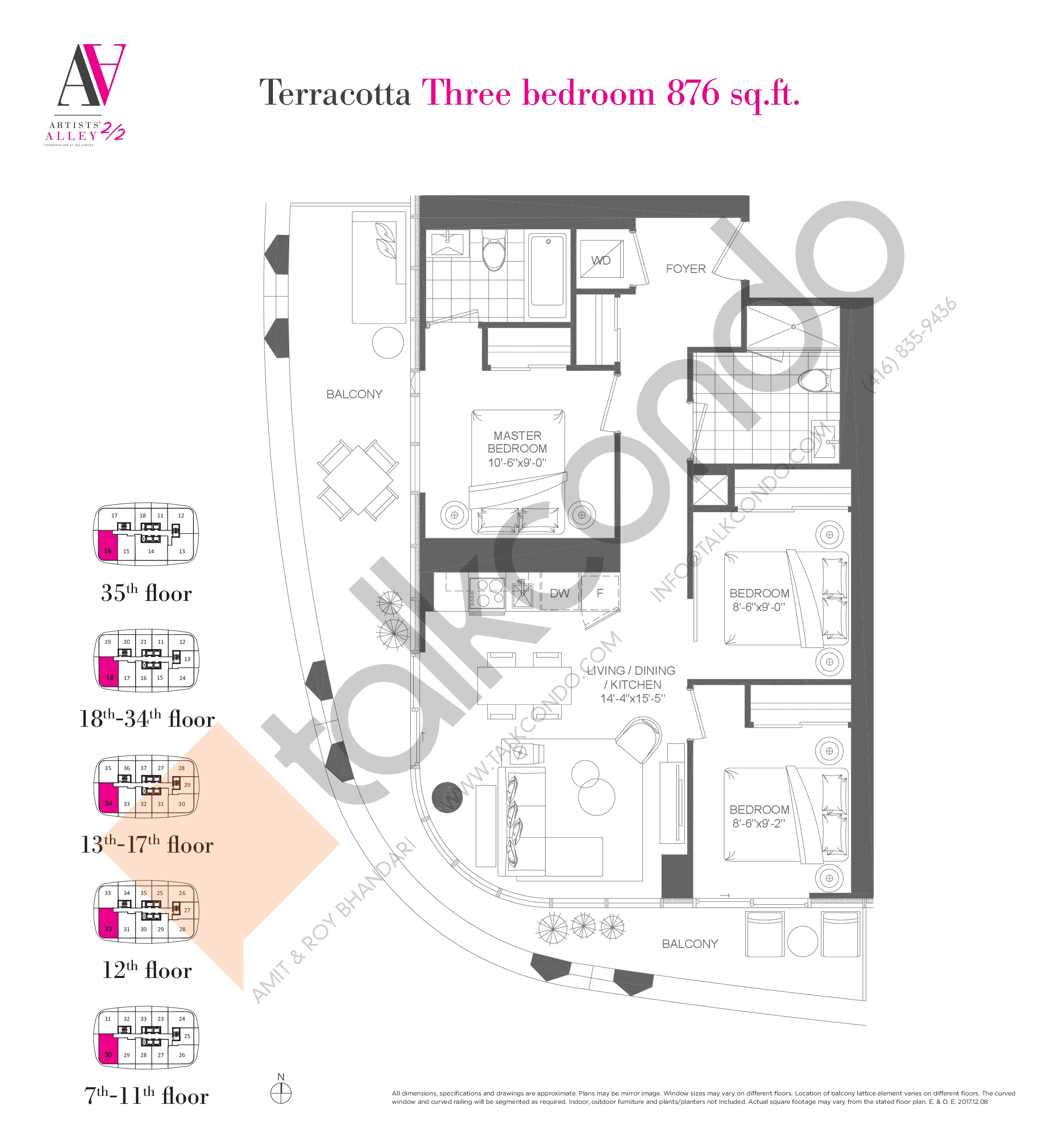 Terracotta Floor Plan at Artists' Alley 2 Condos - 876 sq.ft
