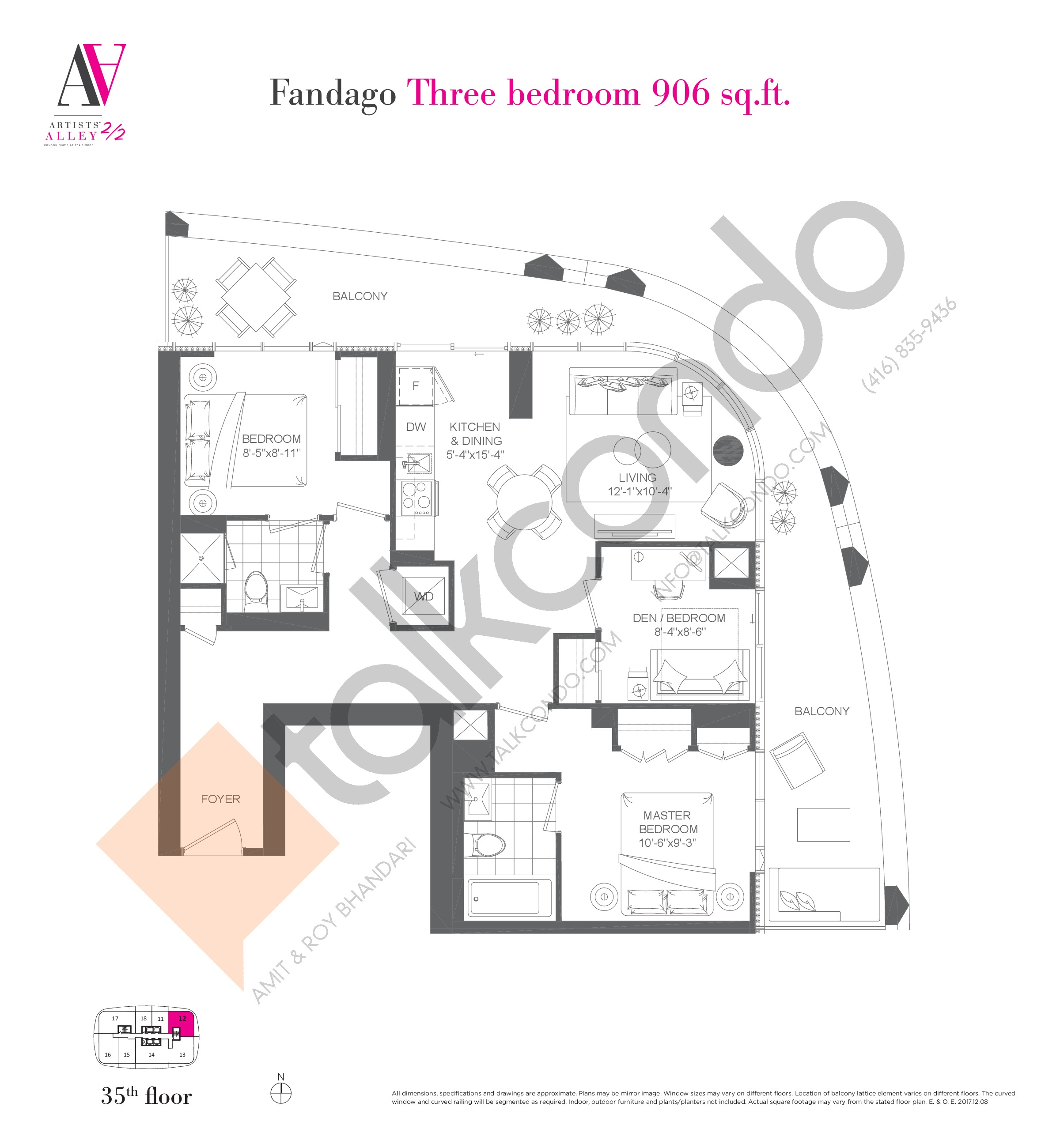 Fandago Floor Plan at Artists' Alley 2 Condos - 906 sq.ft