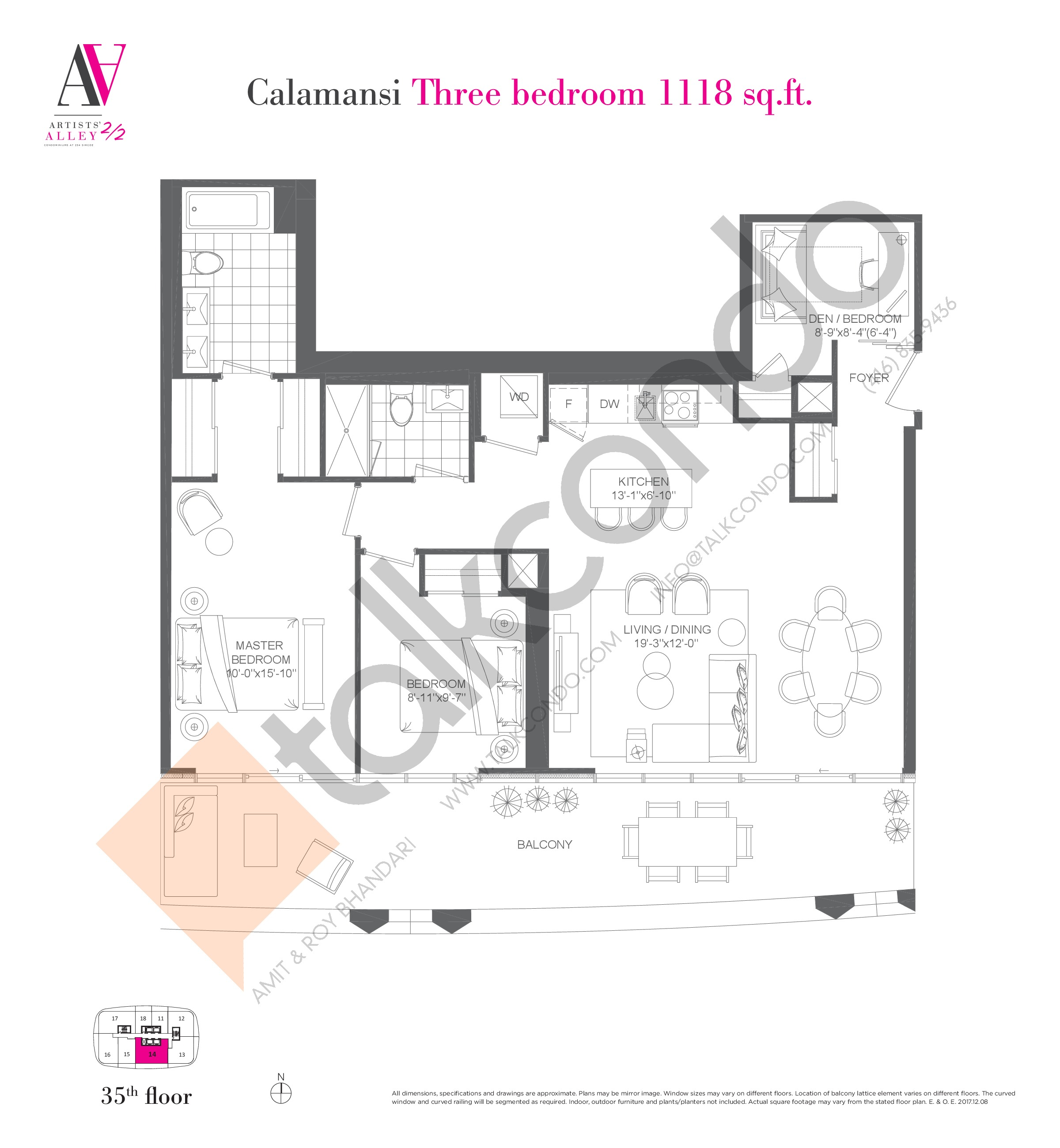 Calamansi Floor Plan at Artists' Alley 2 Condos - 1118 sq.ft