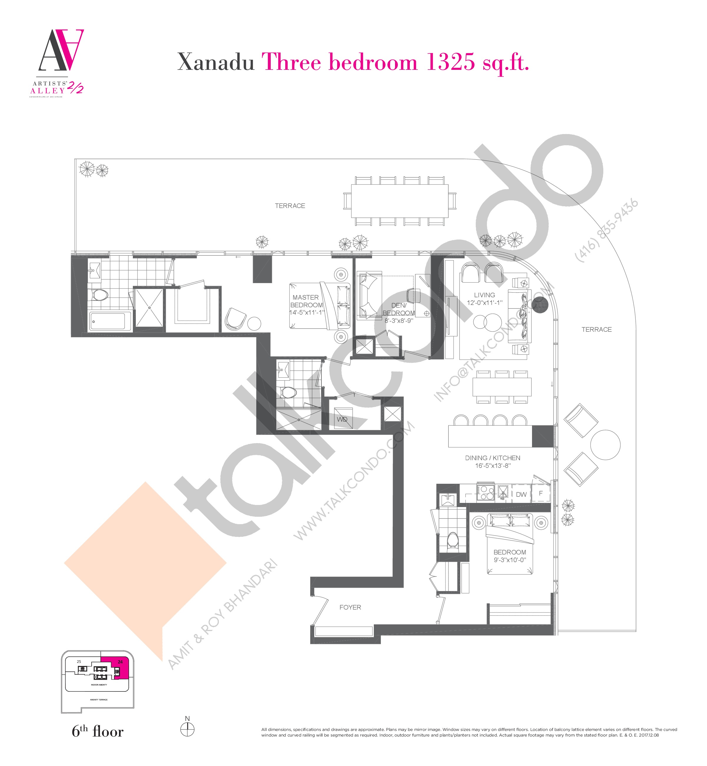 Xanadu Floor Plan at Artists' Alley 2 Condos - 1325 sq.ft