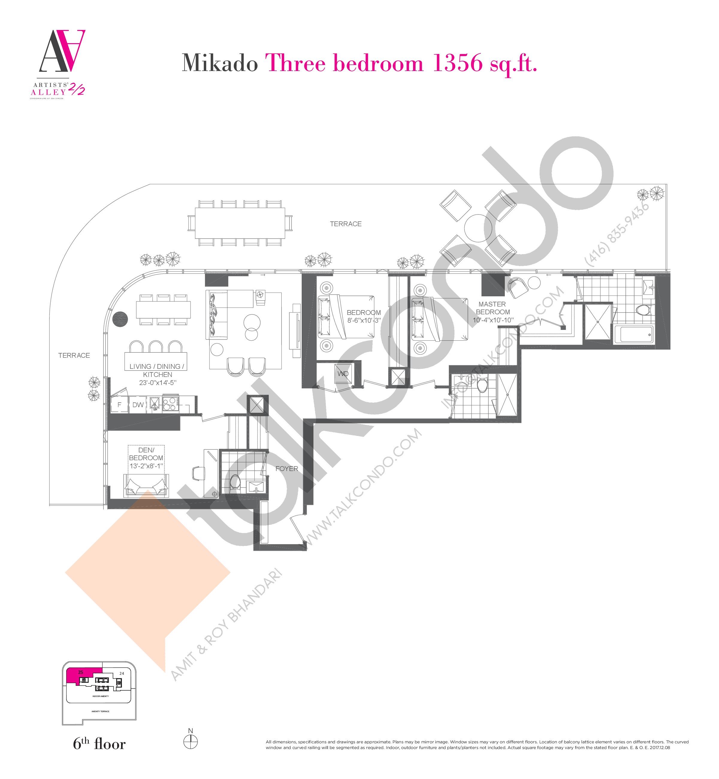 Mikado Floor Plan at Artists' Alley 2 Condos - 1356 sq.ft