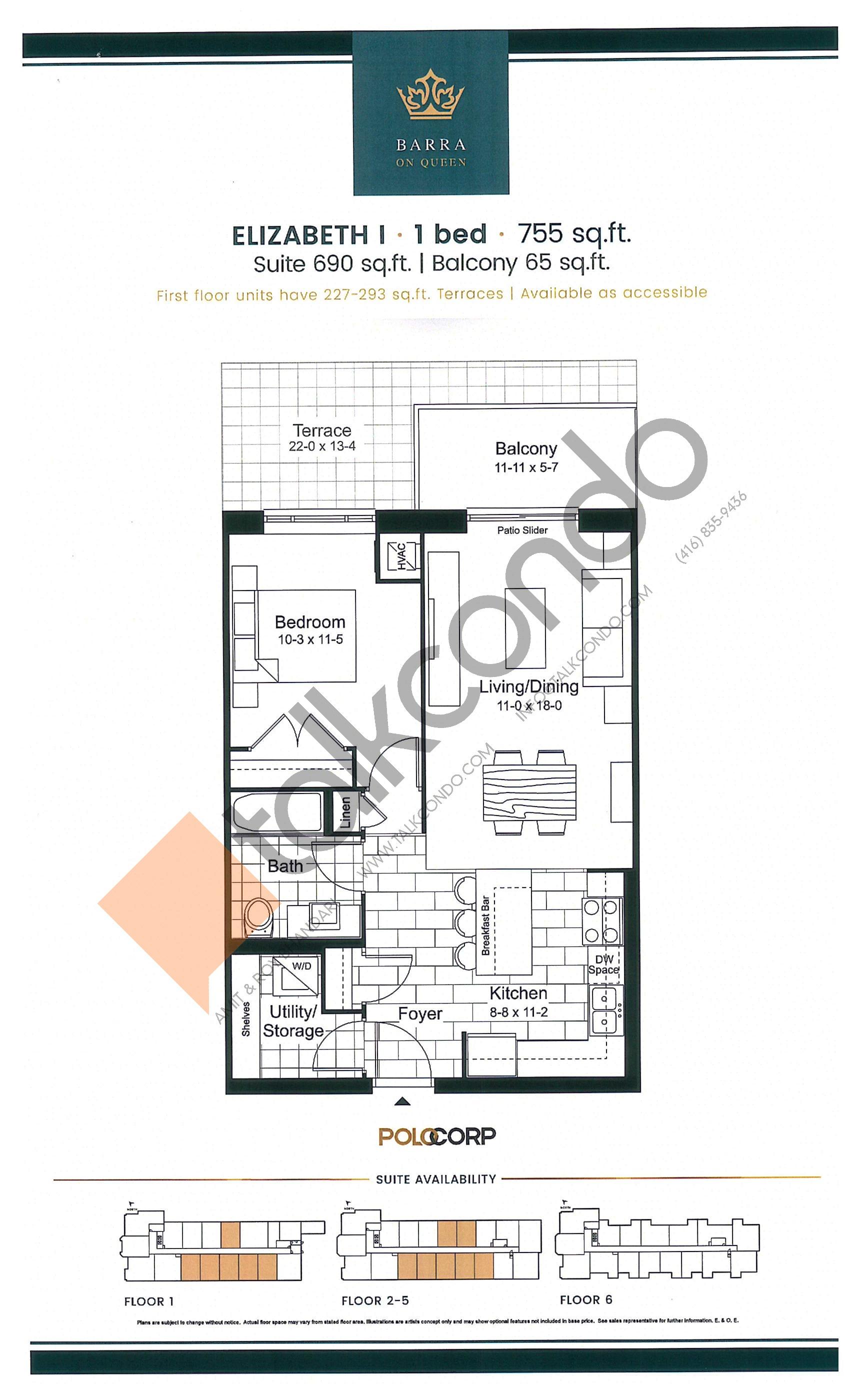 Elizabeth I Floor Plan at Barra on Queen Condos - 690 sq.ft