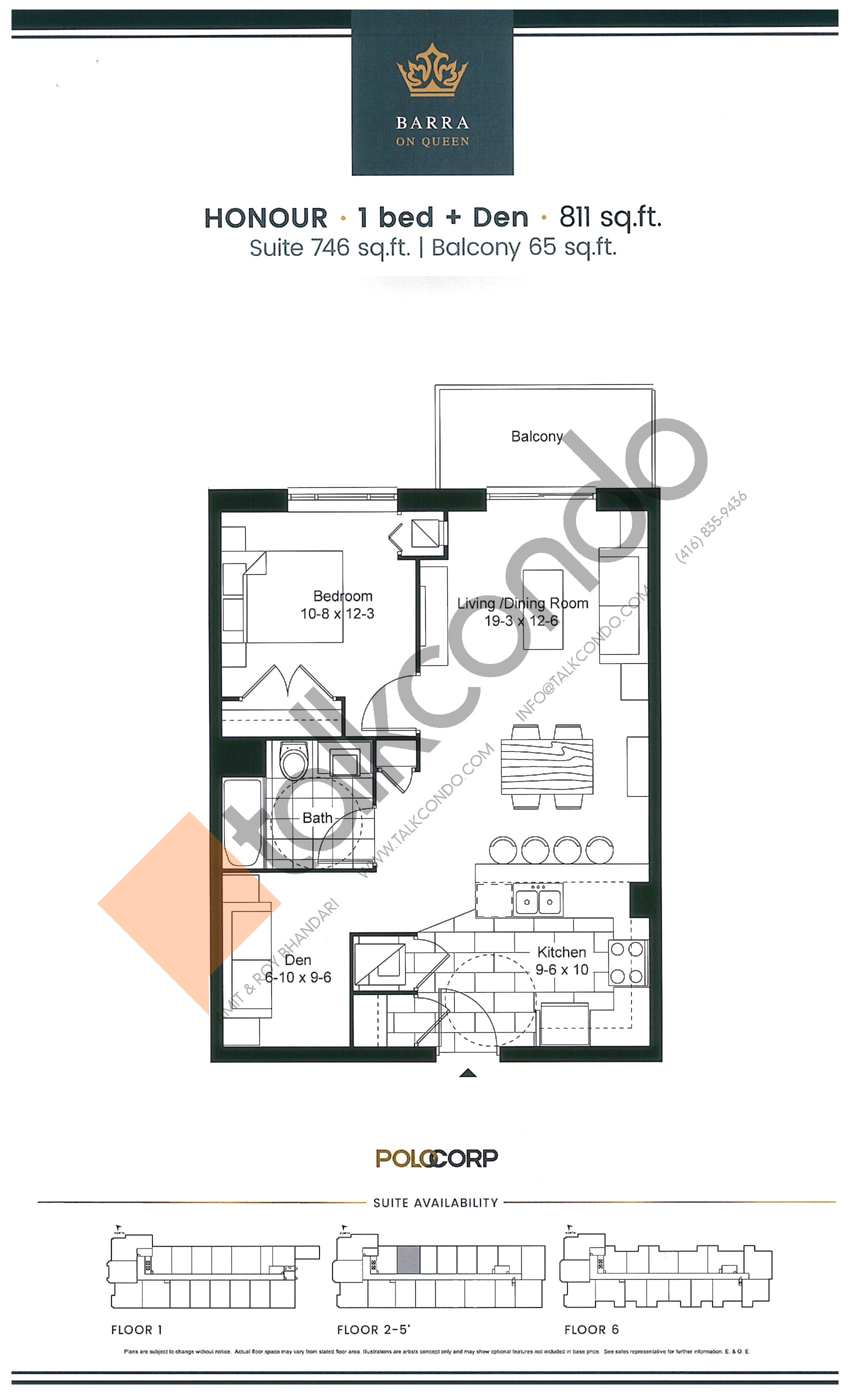 Honour Floor Plan at Barra on Queen Condos - 746 sq.ft