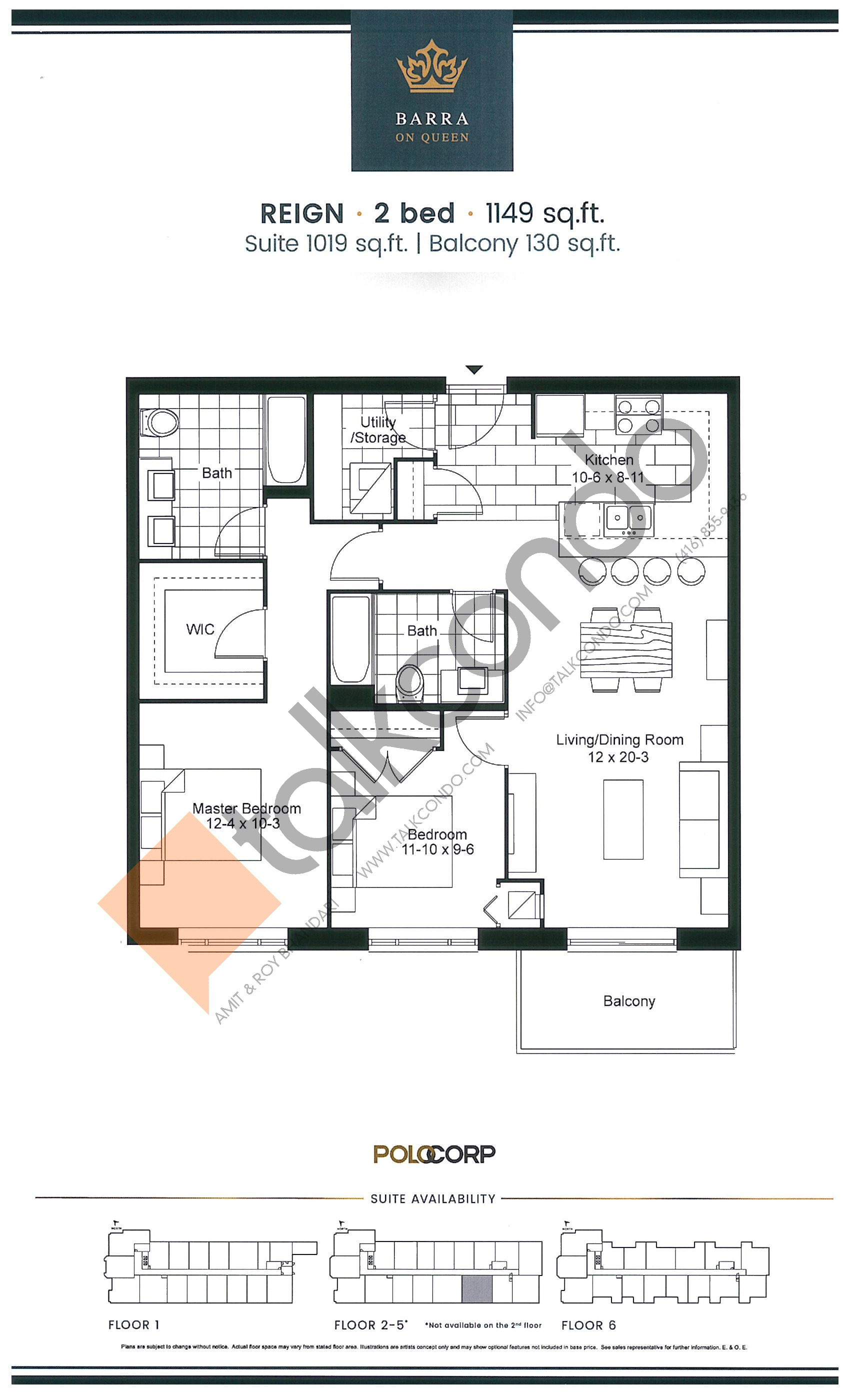 Reign Floor Plan at Barra on Queen Condos - 1019 sq.ft