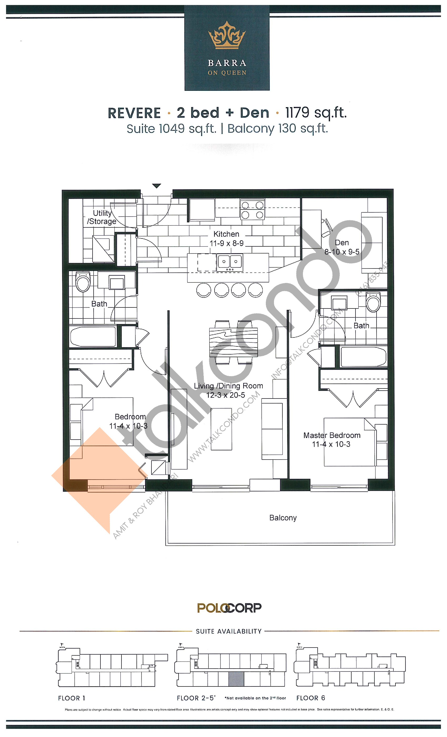 Revere Floor Plan at Barra on Queen Condos - 1049 sq.ft