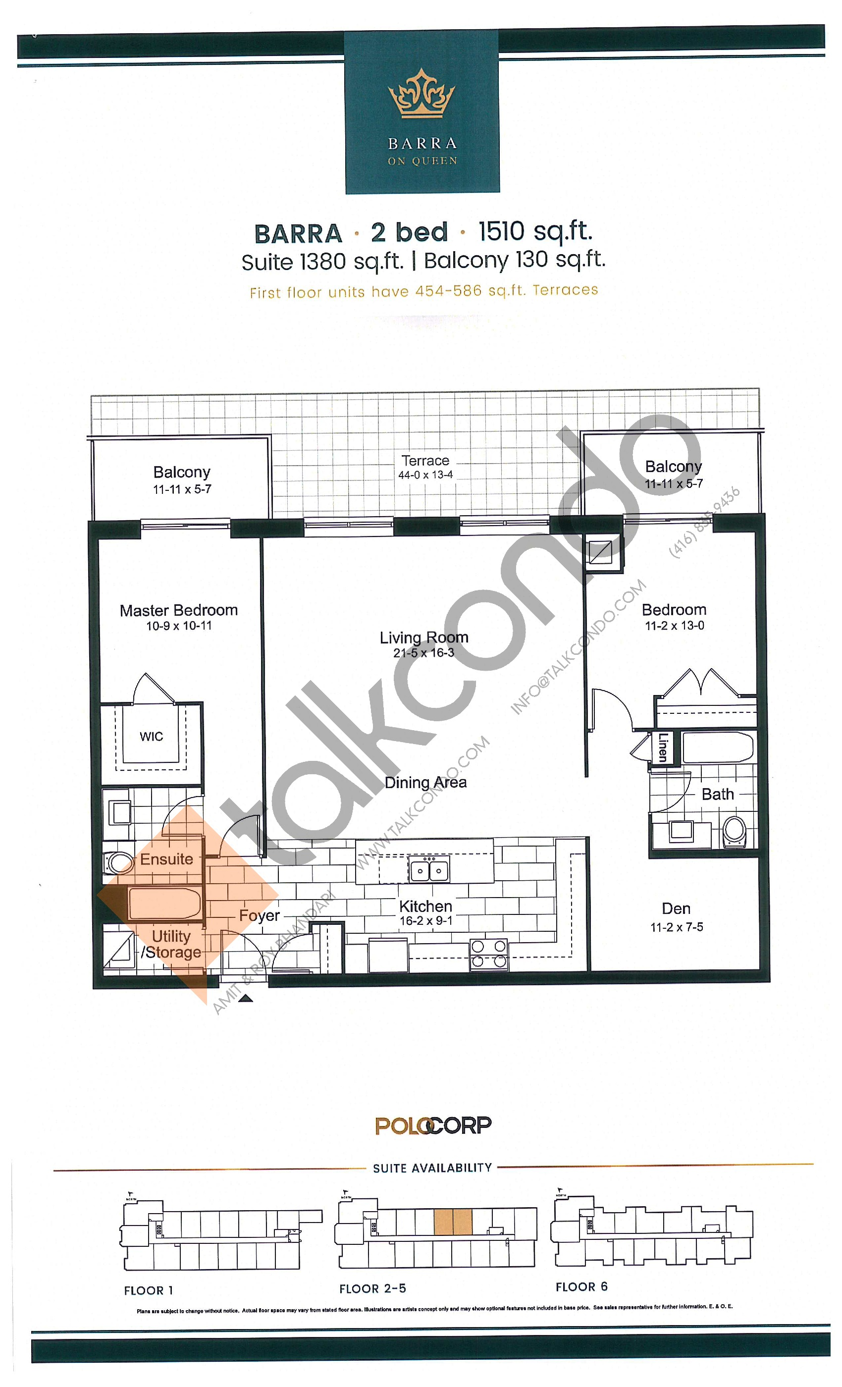 Barra Floor Plan at Barra on Queen Condos - 1380 sq.ft