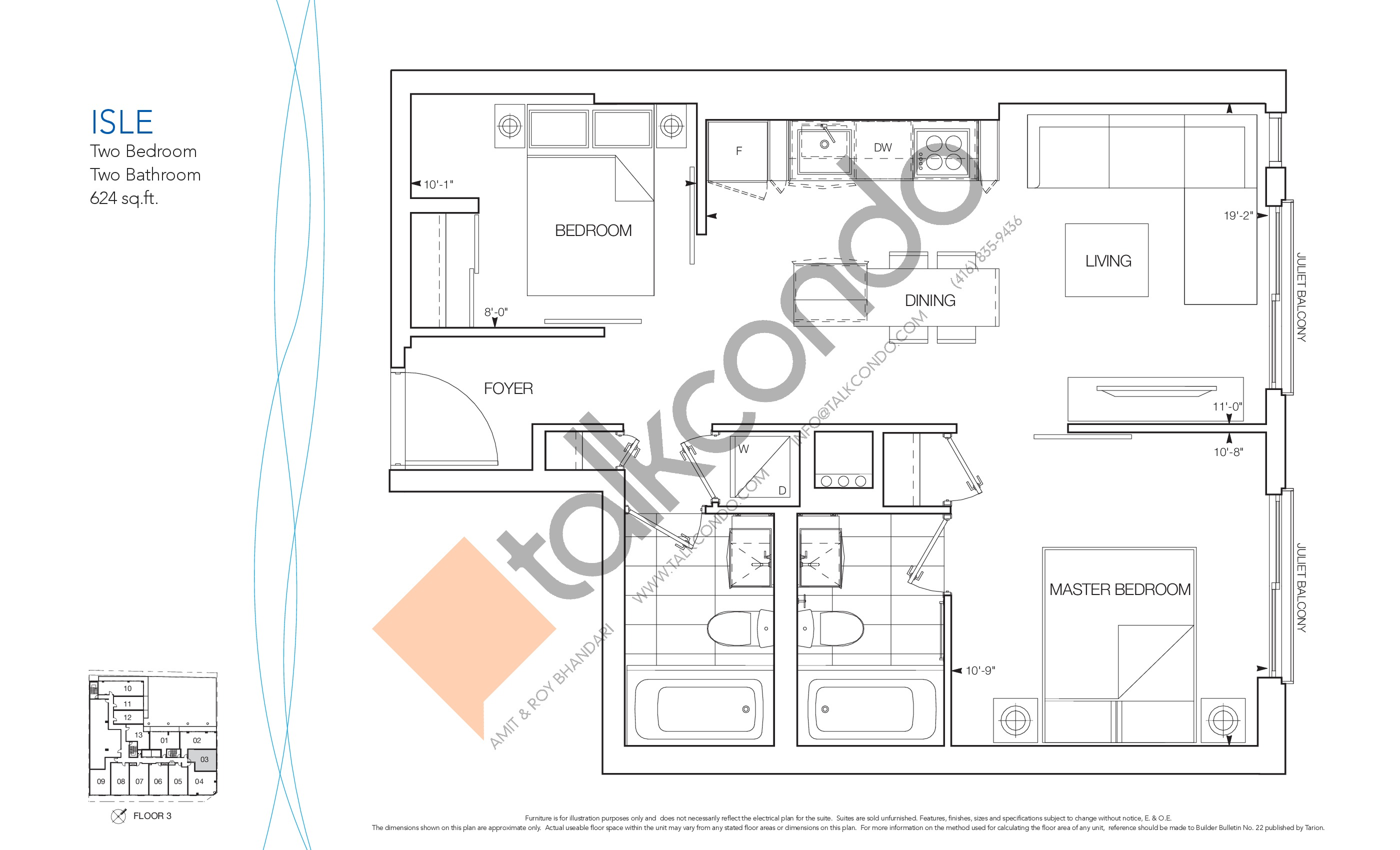 Isle Floor Plan at Nautique Lakefront Residences - 624 sq.ft