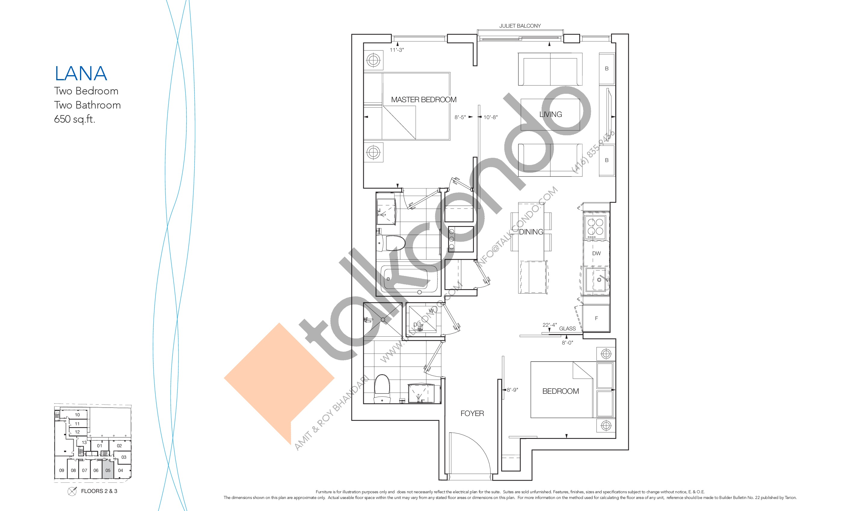Lana Floor Plan at Nautique Lakefront Residences - 650 sq.ft