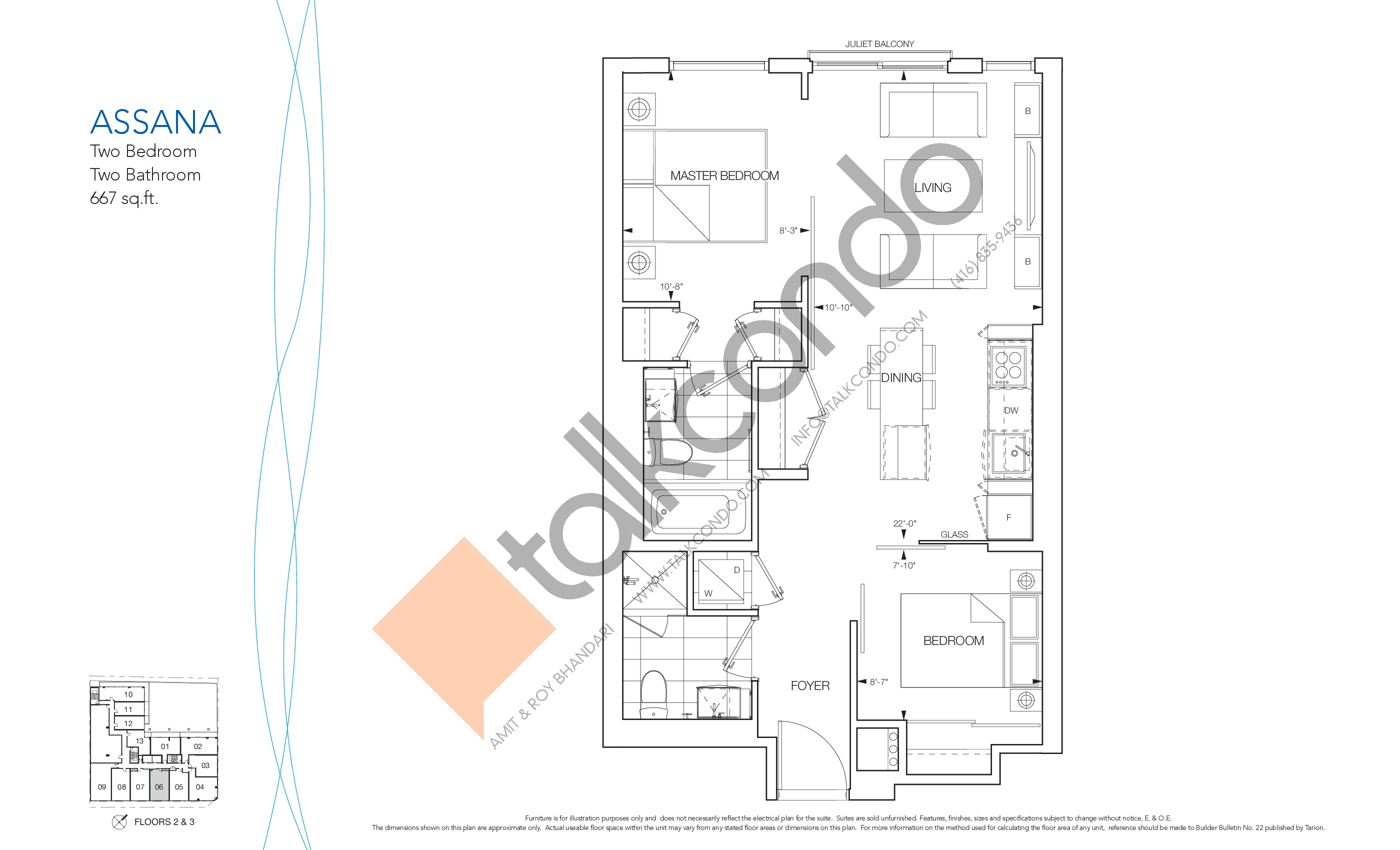 Assana Floor Plan at Nautique Lakefront Residences - 667 sq.ft