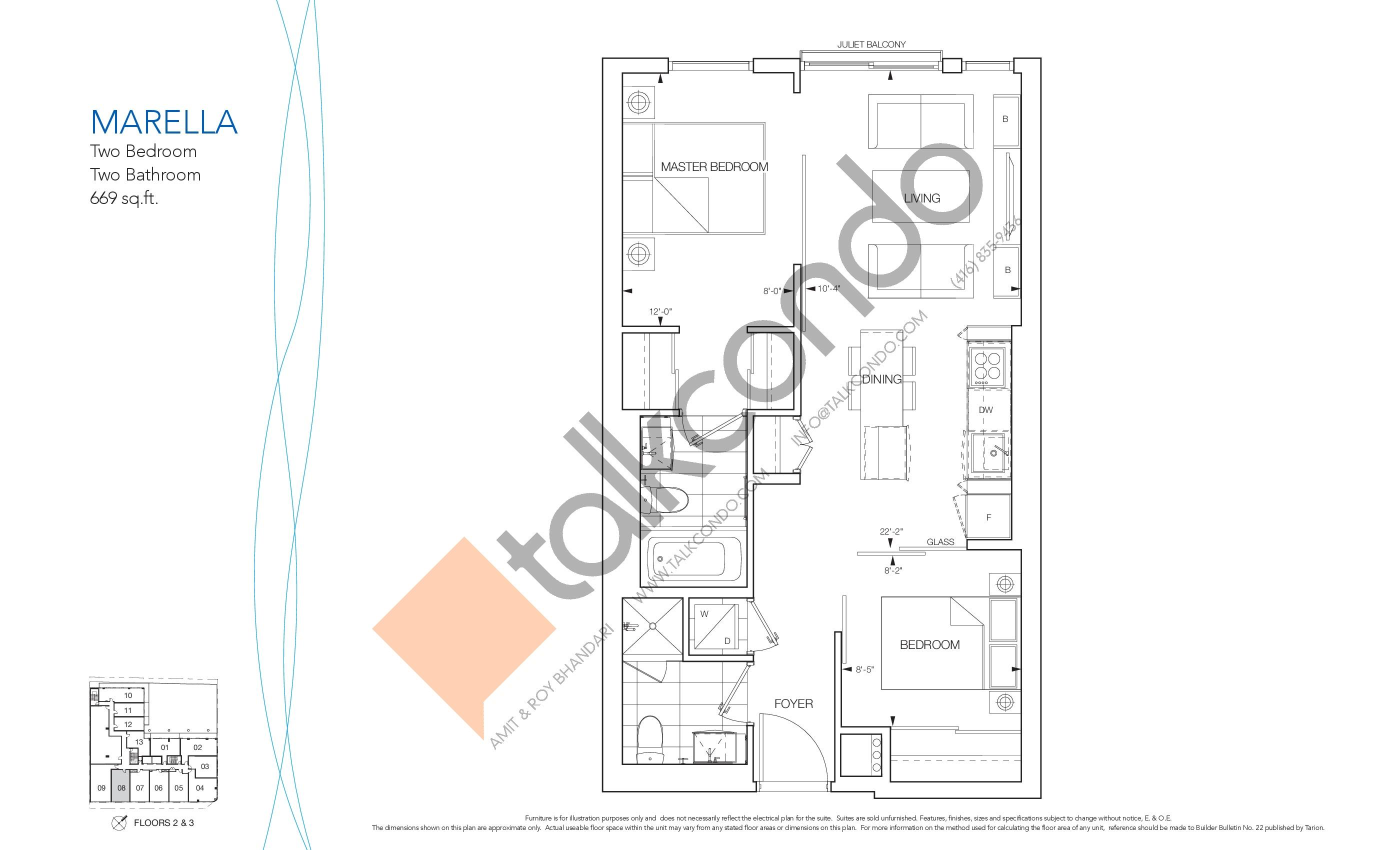 Marella Floor Plan at Nautique Lakefront Residences - 669 sq.ft