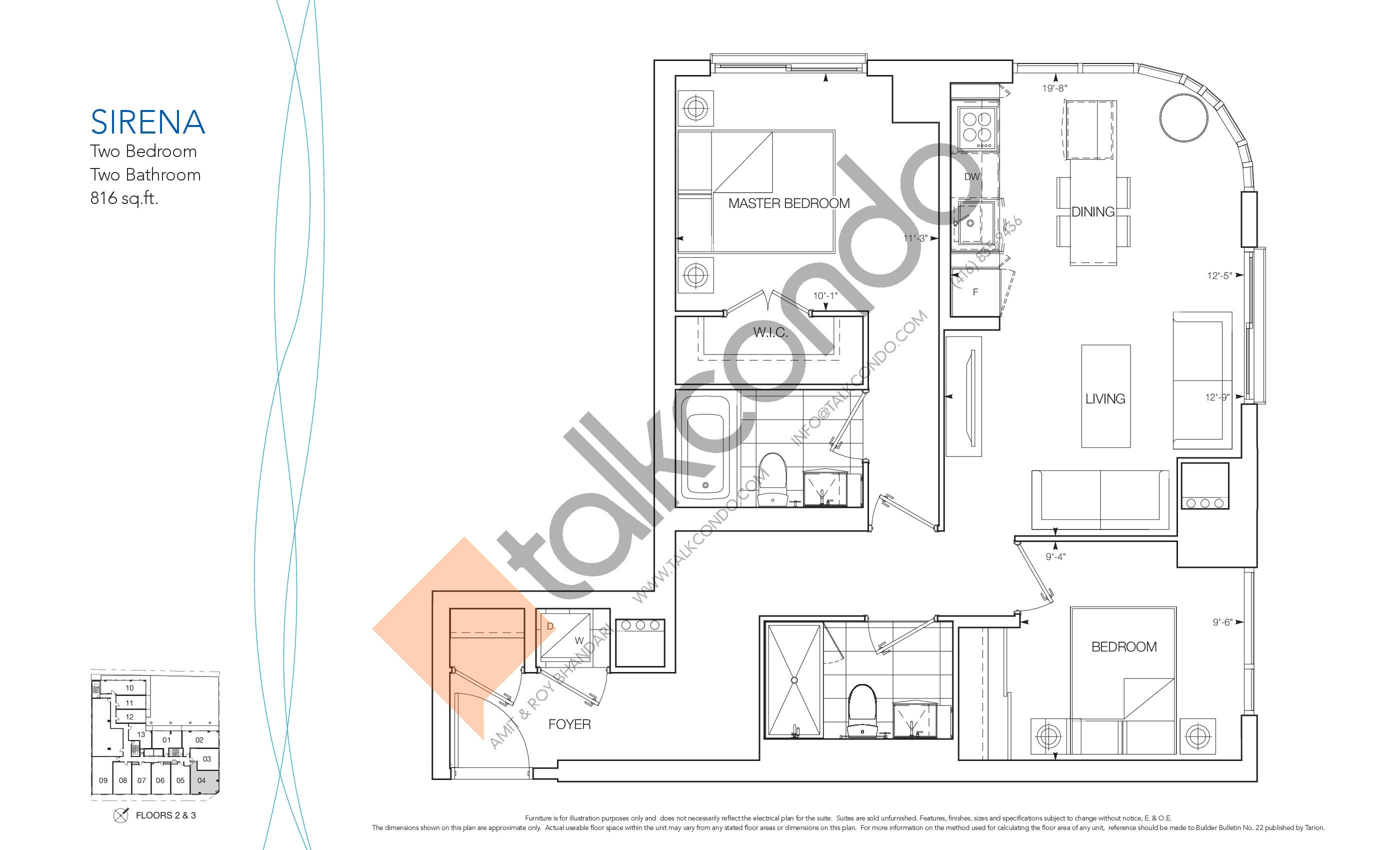 Sirena Floor Plan at Nautique Lakefront Residences - 816 sq.ft