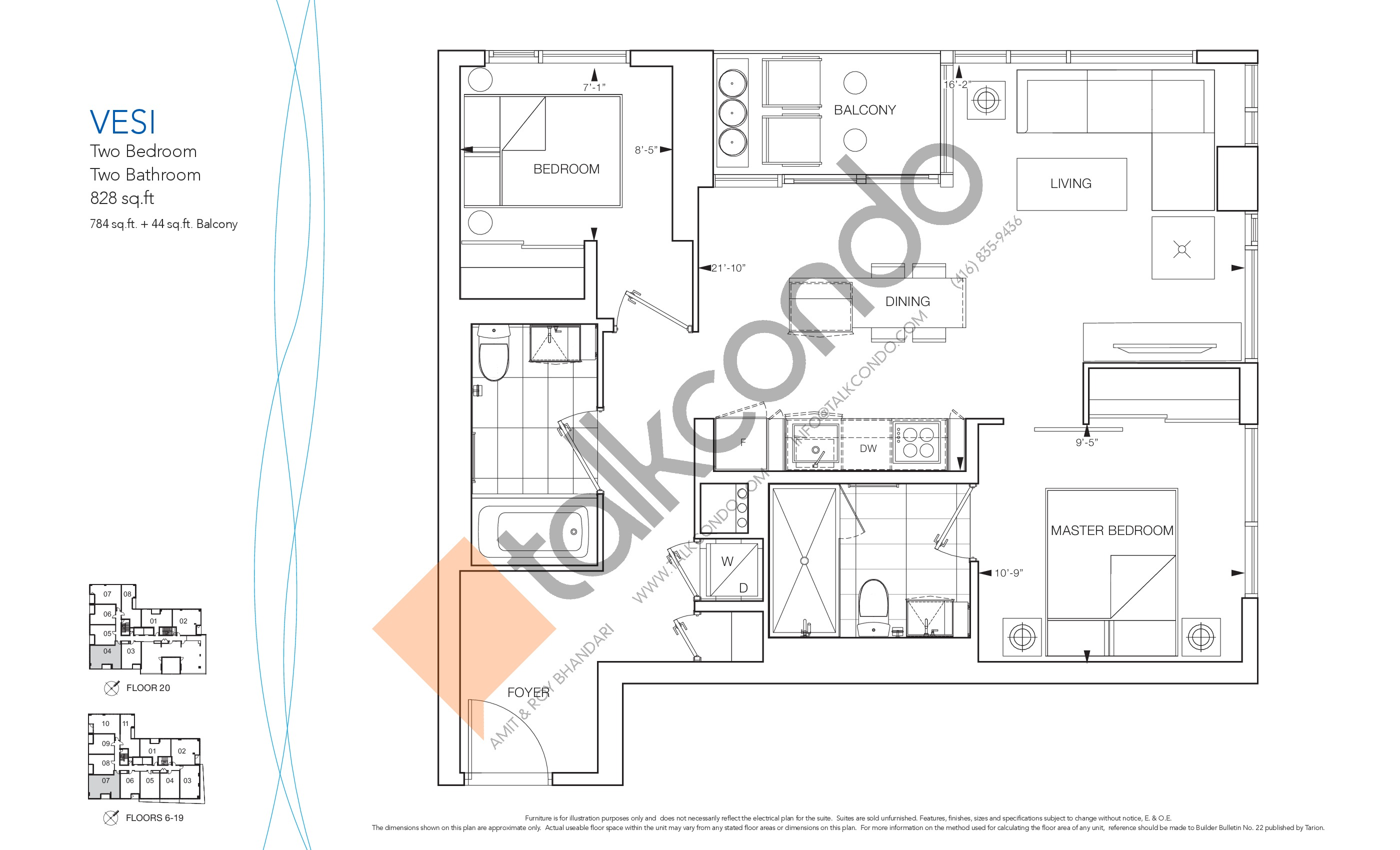 Vesi Floor Plan at Nautique Lakefront Residences - 784 sq.ft