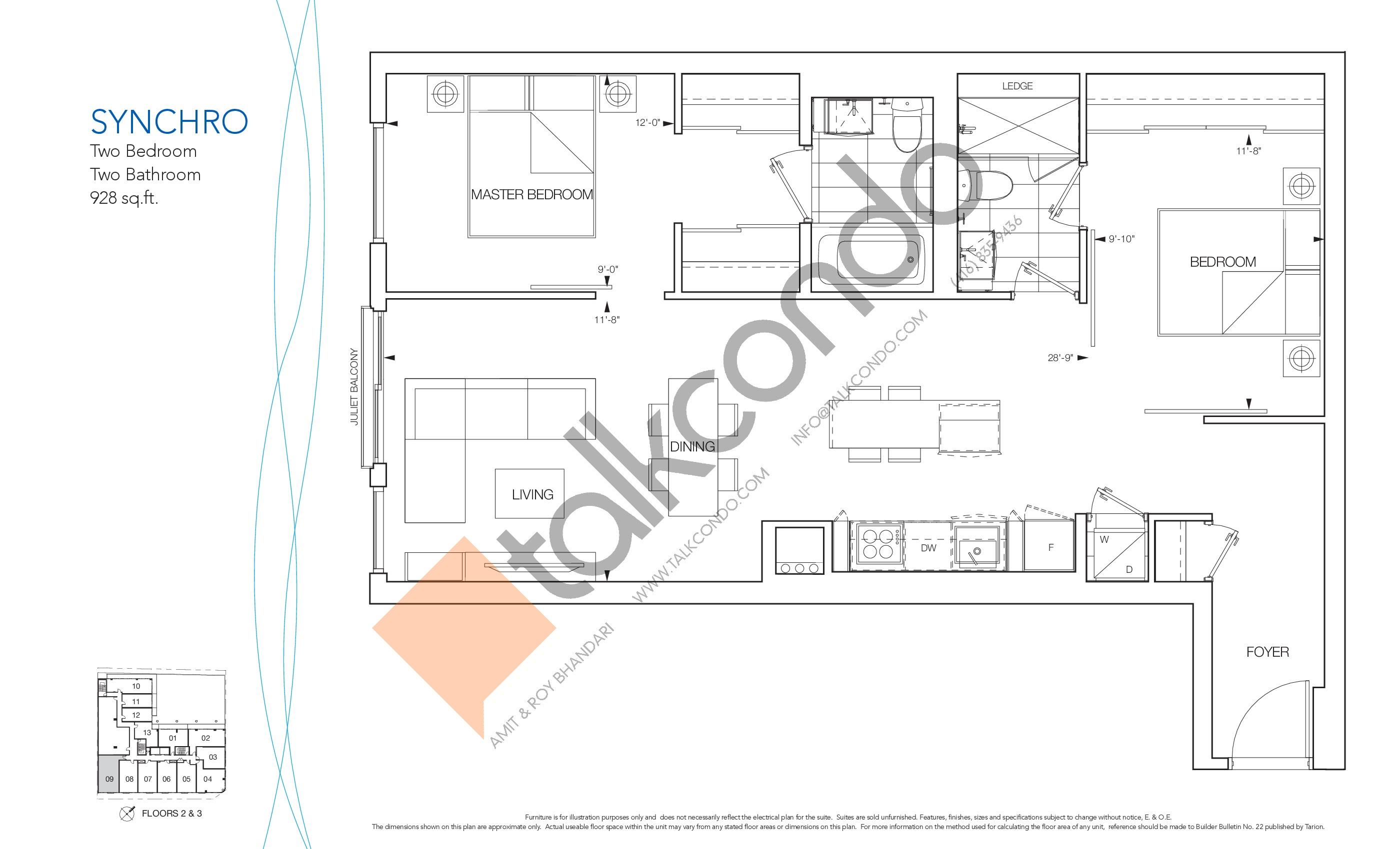 Synchro Floor Plan at Nautique Lakefront Residences - 928 sq.ft