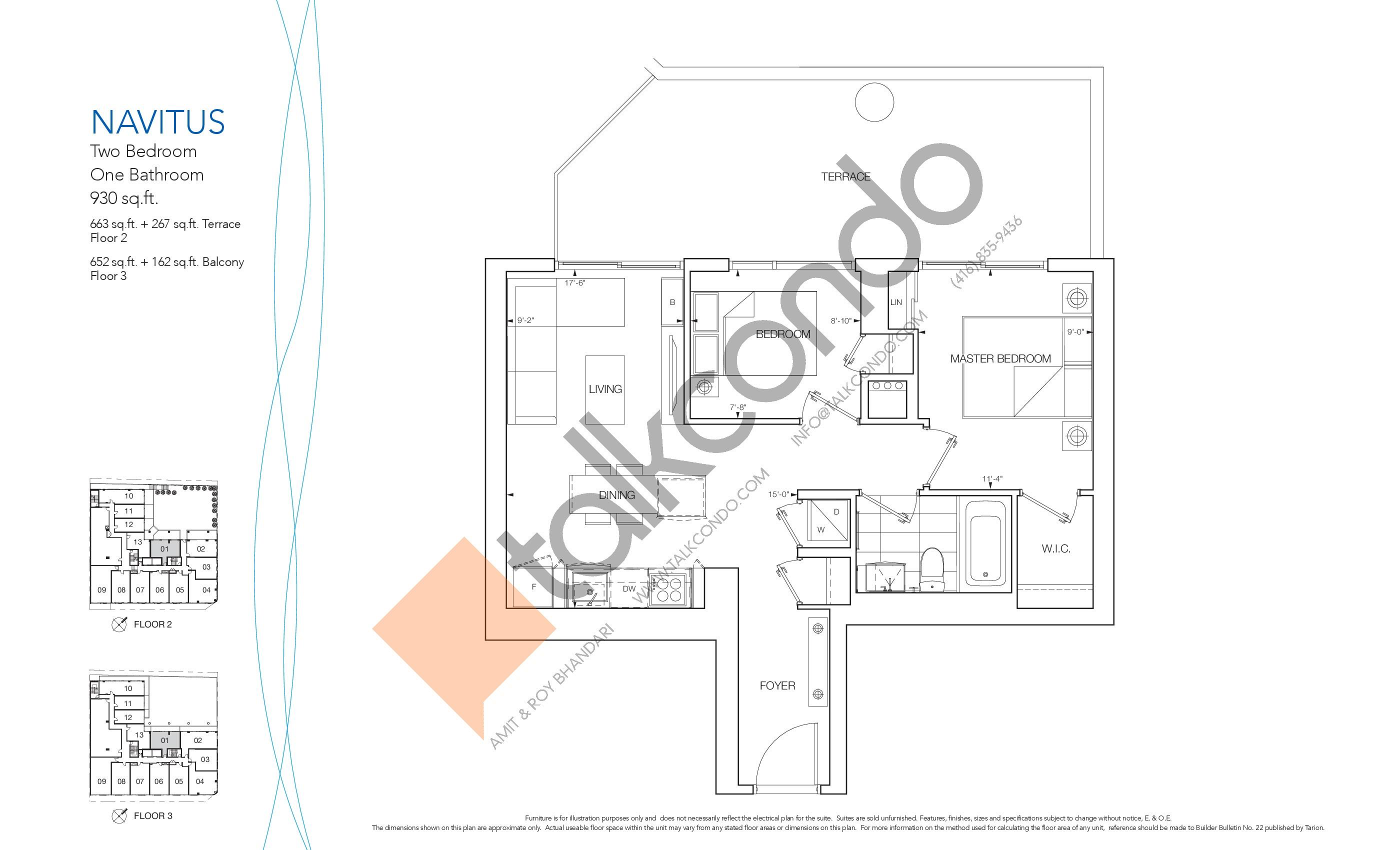 Navitus Floor Plan at Nautique Lakefront Residences - 663 sq.ft