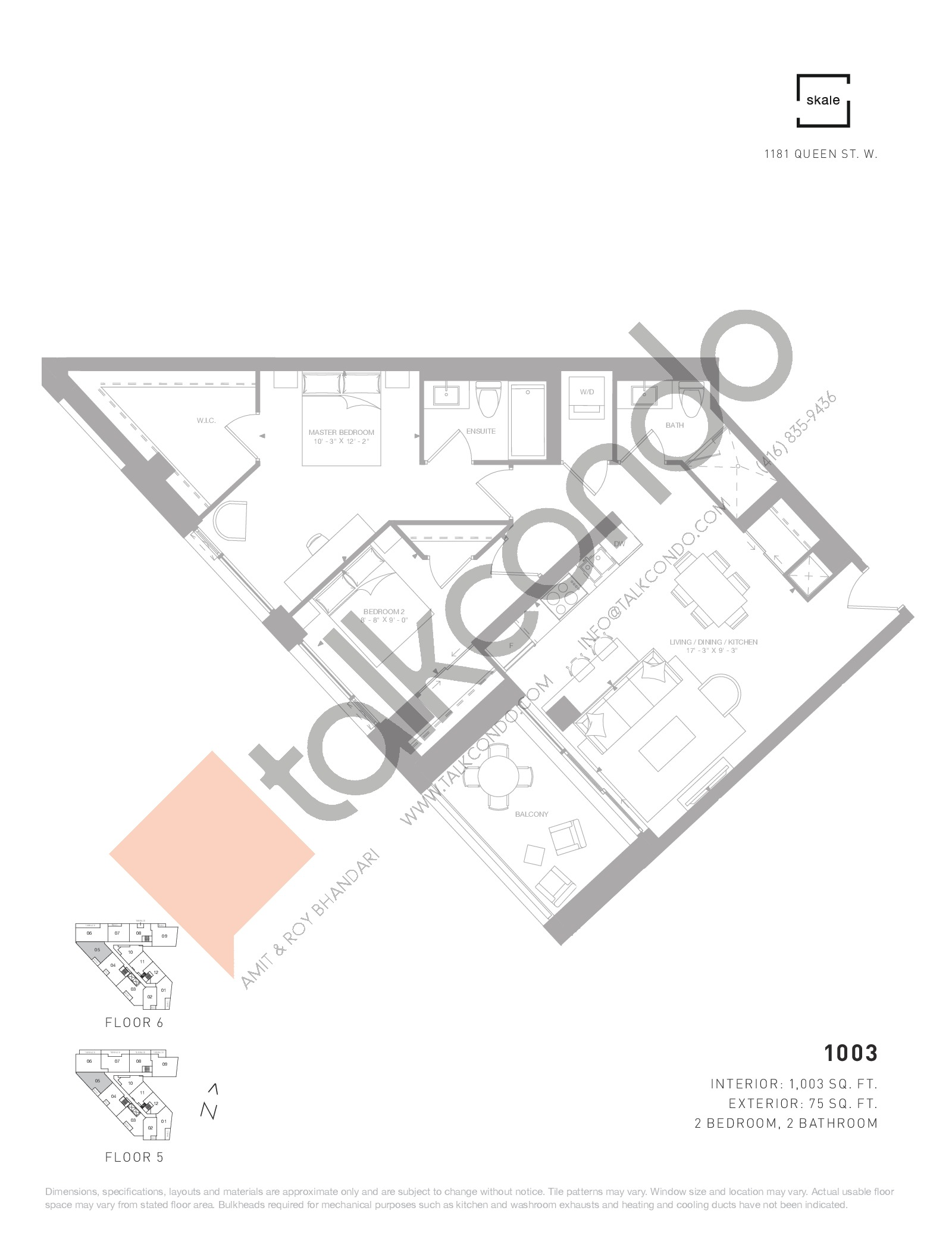 1003 Floor Plan at 1181 Queen West Condos - 1003 sq.ft