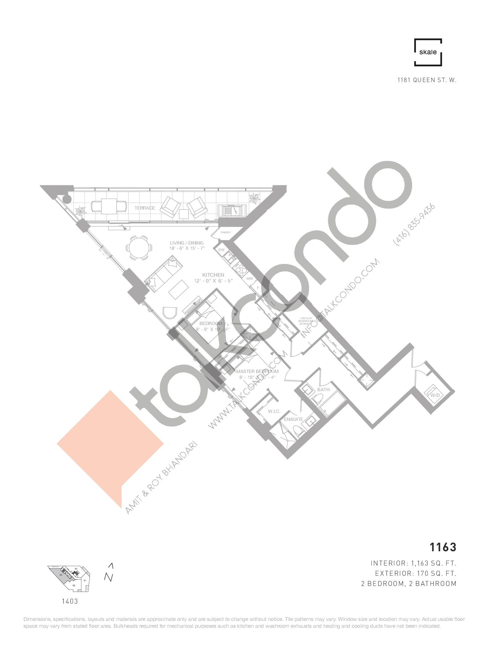 1163 Floor Plan at 1181 Queen West Condos - 1163 sq.ft
