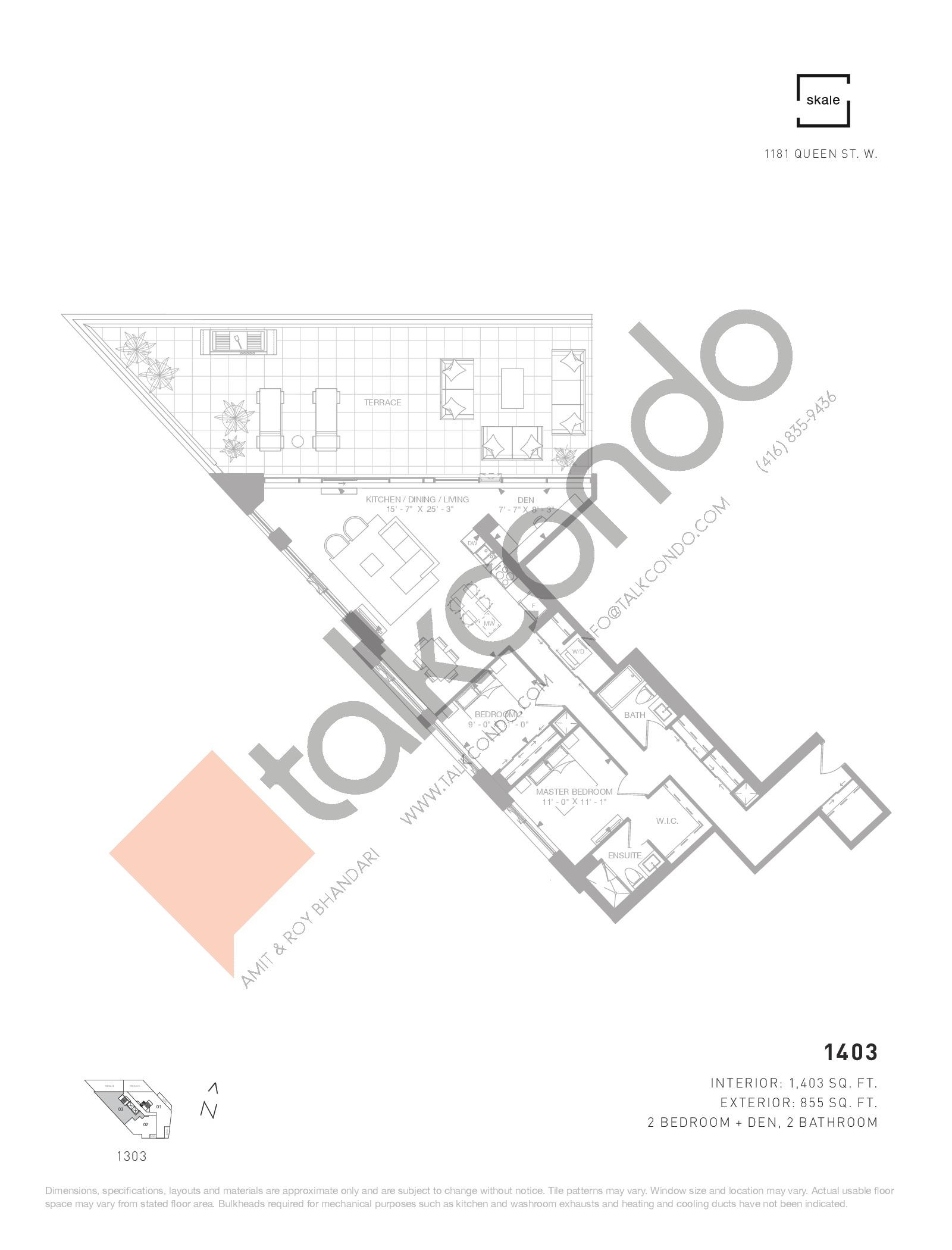 1403 Floor Plan at 1181 Queen West Condos - 1403 sq.ft