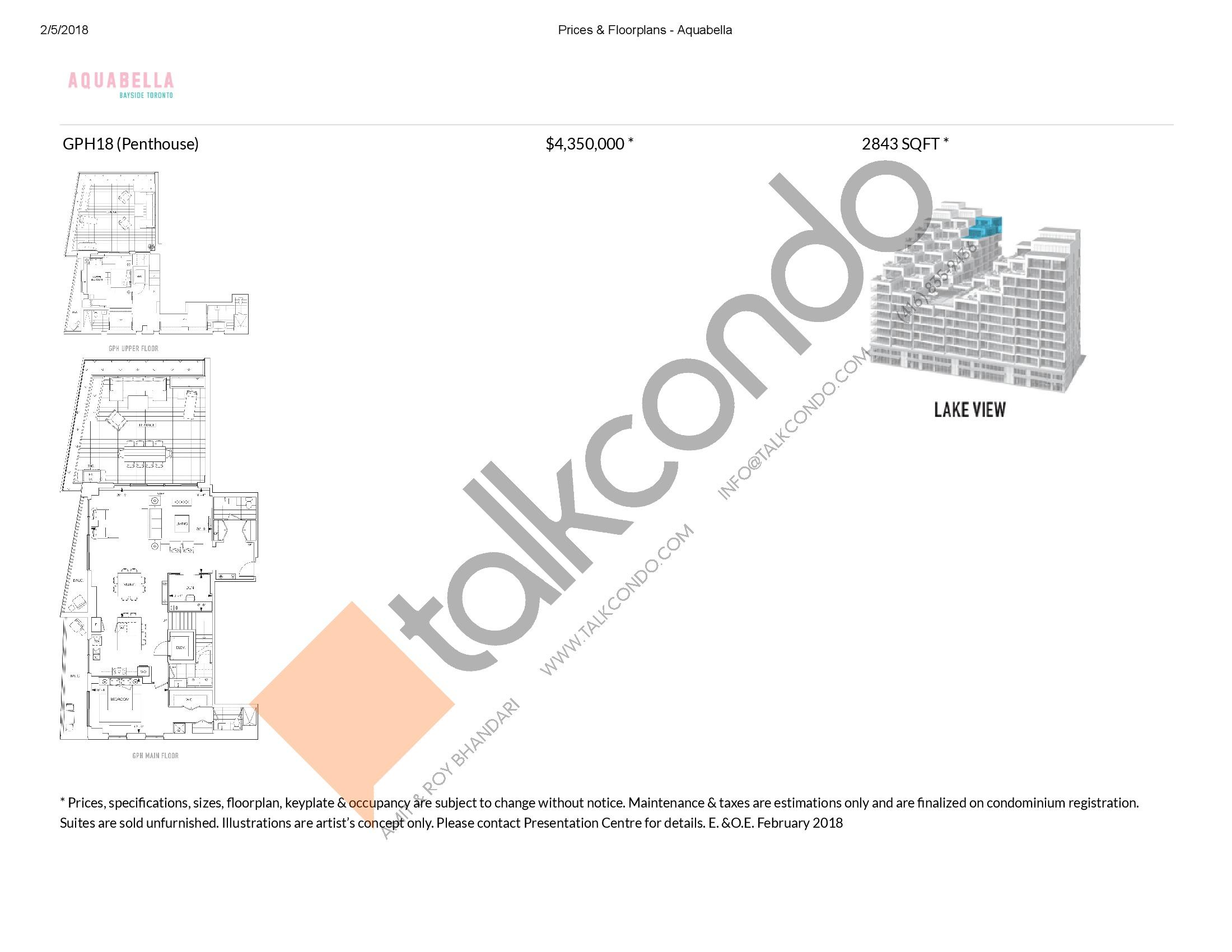 Suite GPH18 Floor Plan at Aquabella Condos - 2843 sq.ft