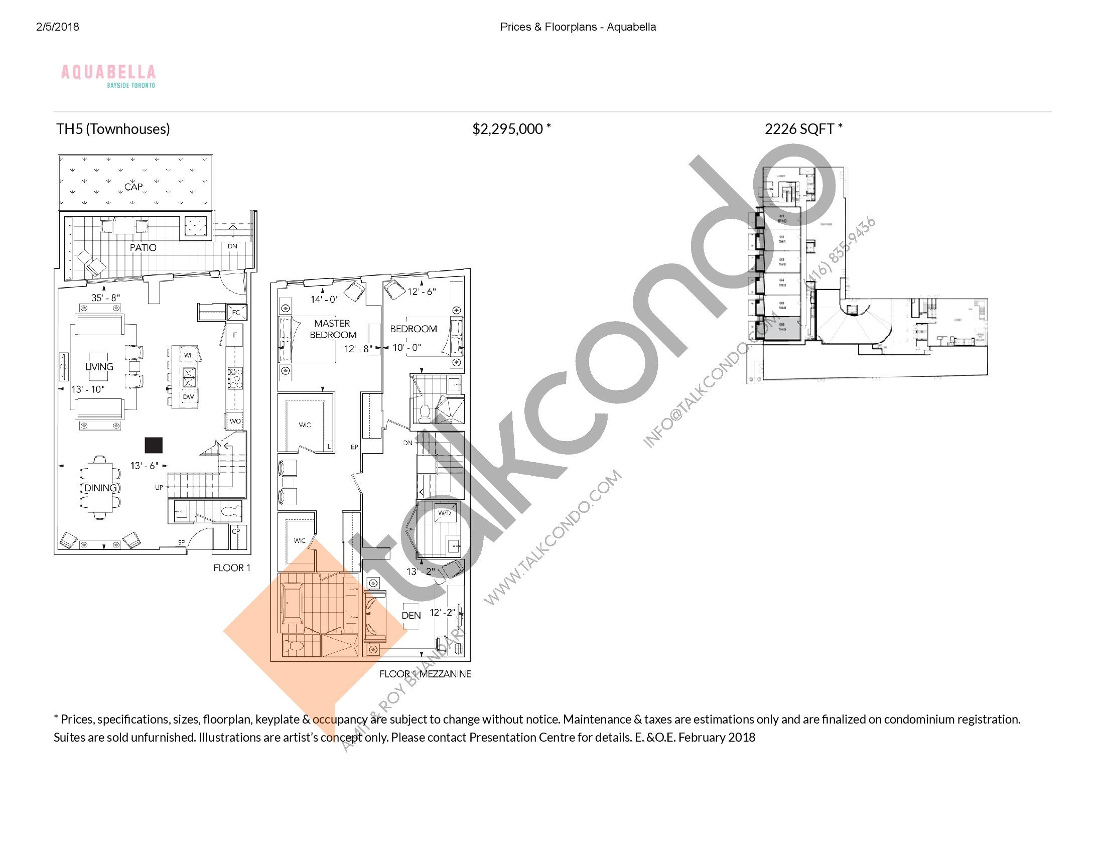 Suite TH5 Floor Plan at Aquabella Condos - 2226 sq.ft