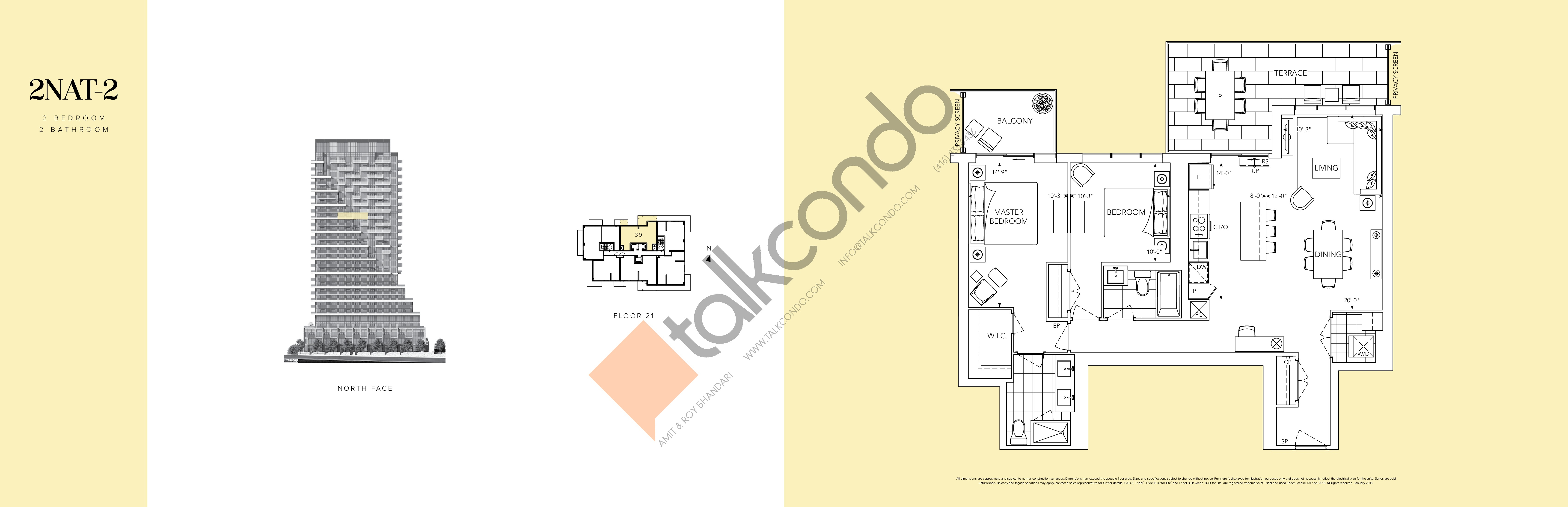 2NAT-2 Floor Plan at Auberge II On The Park Condos - 1166 sq.ft