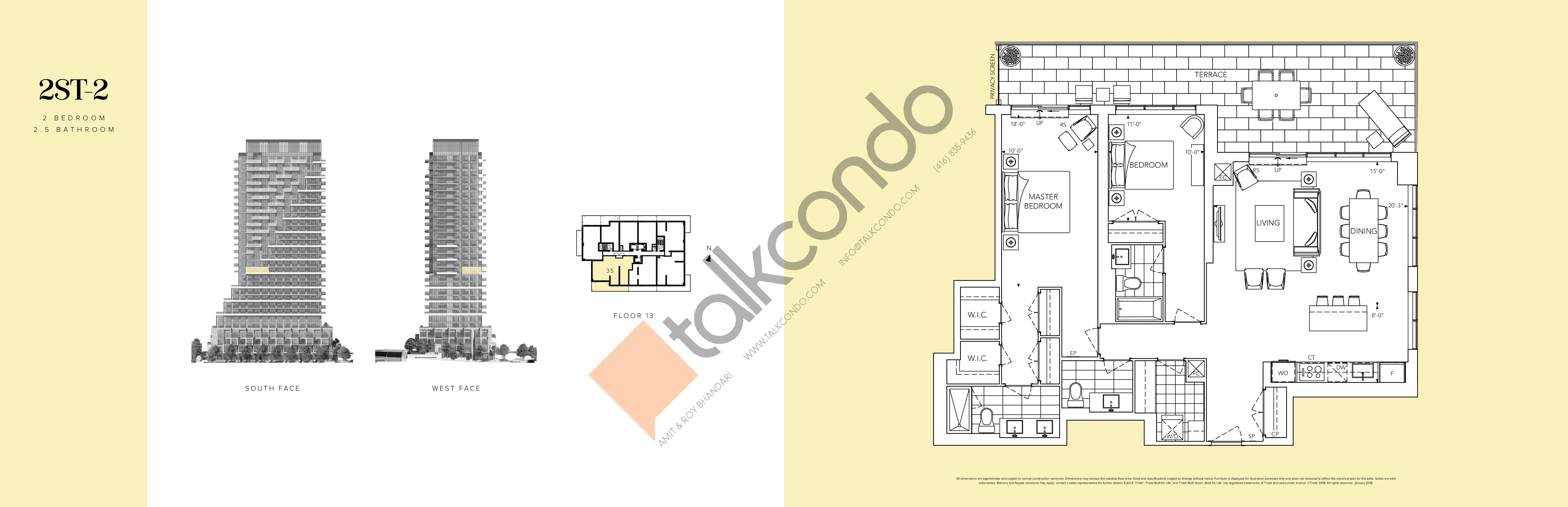 2ST-2 Floor Plan at Auberge II On The Park Condos - 1443 sq.ft