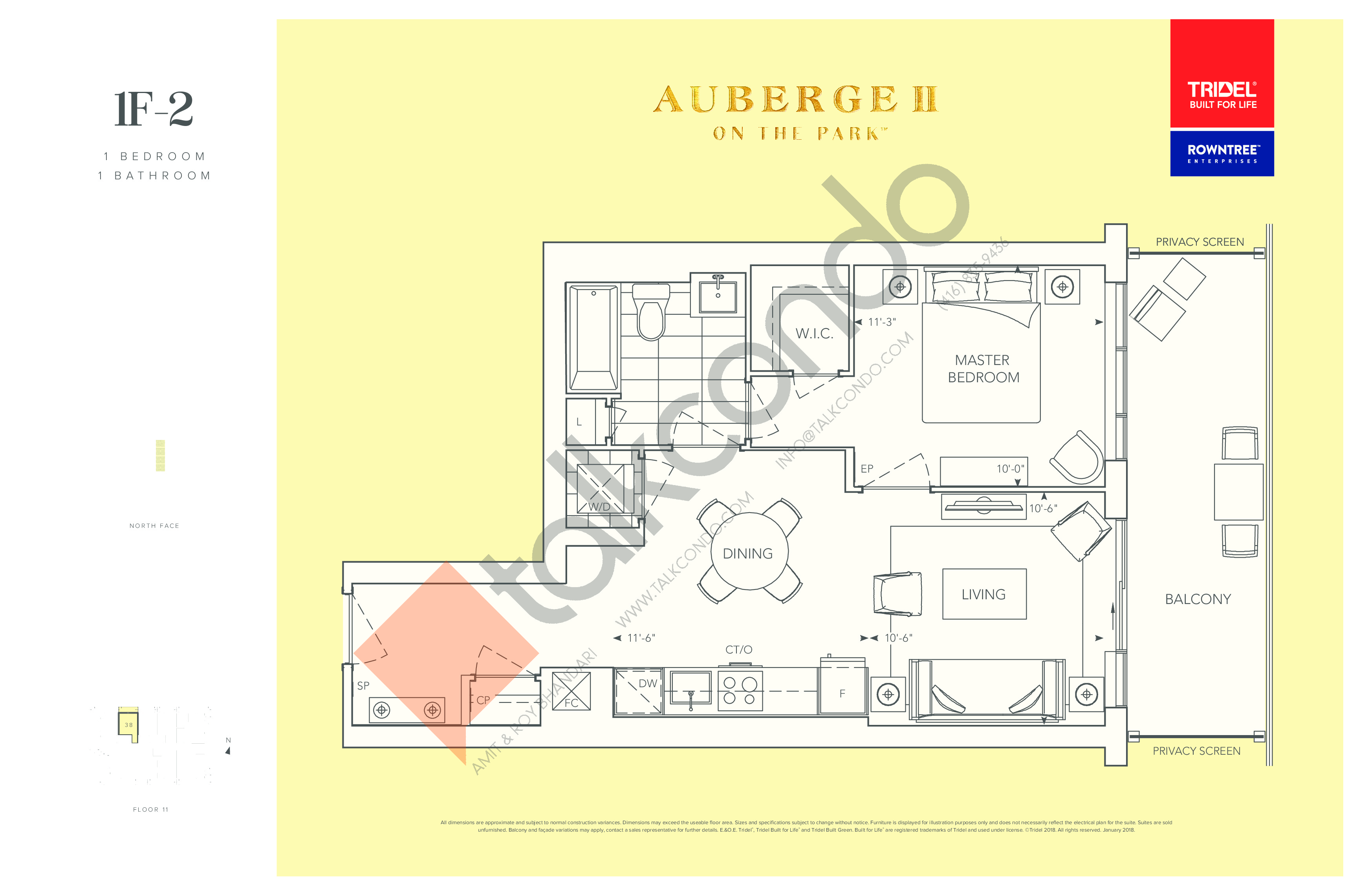 1F-2 Floor Plan at Auberge II On The Park Condos - 648 sq.ft