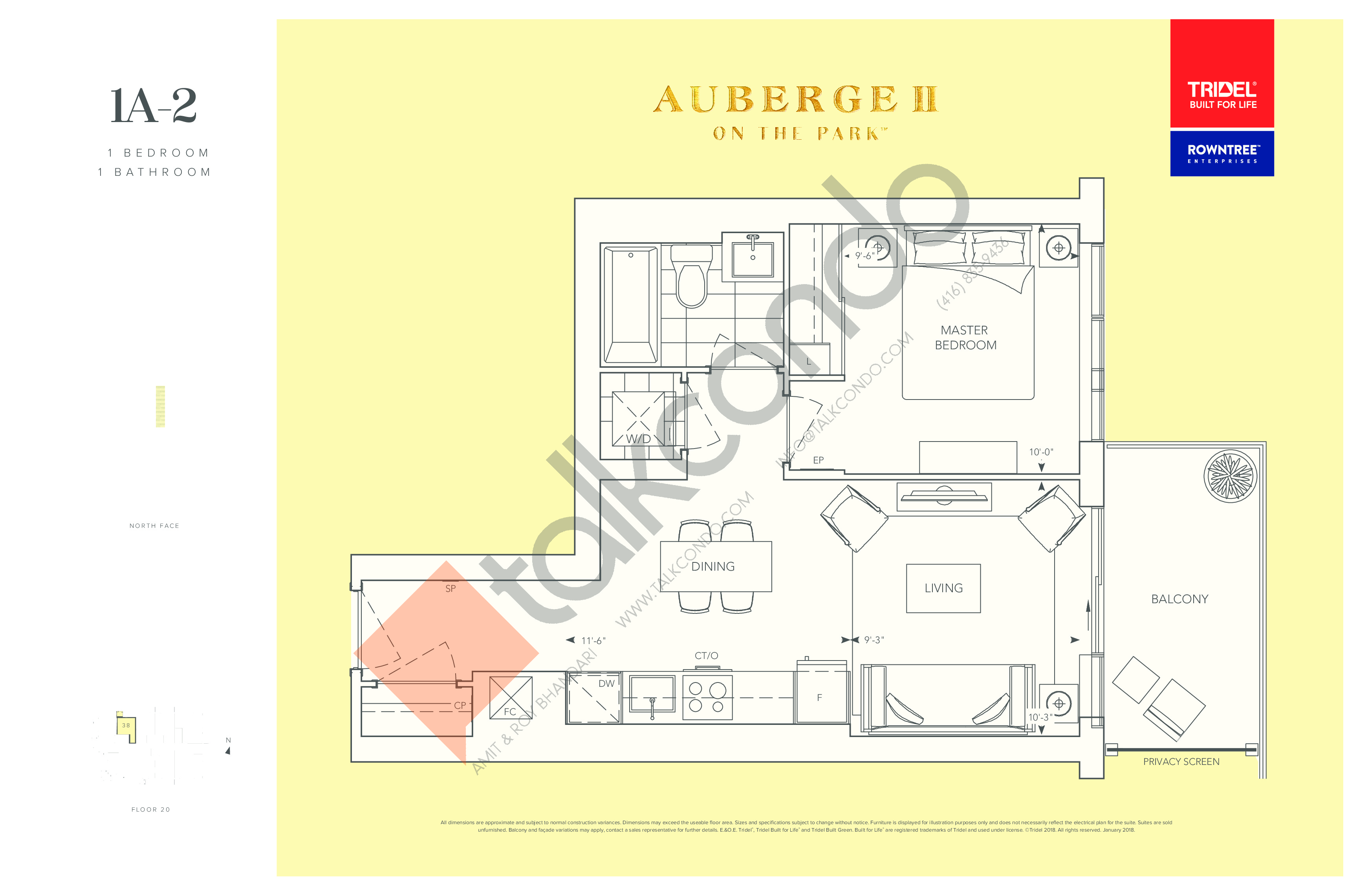 1A-2 Floor Plan at Auberge II On The Park Condos - 541 sq.ft