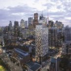Aerial view of Garden District Condos over Downtown Toronto