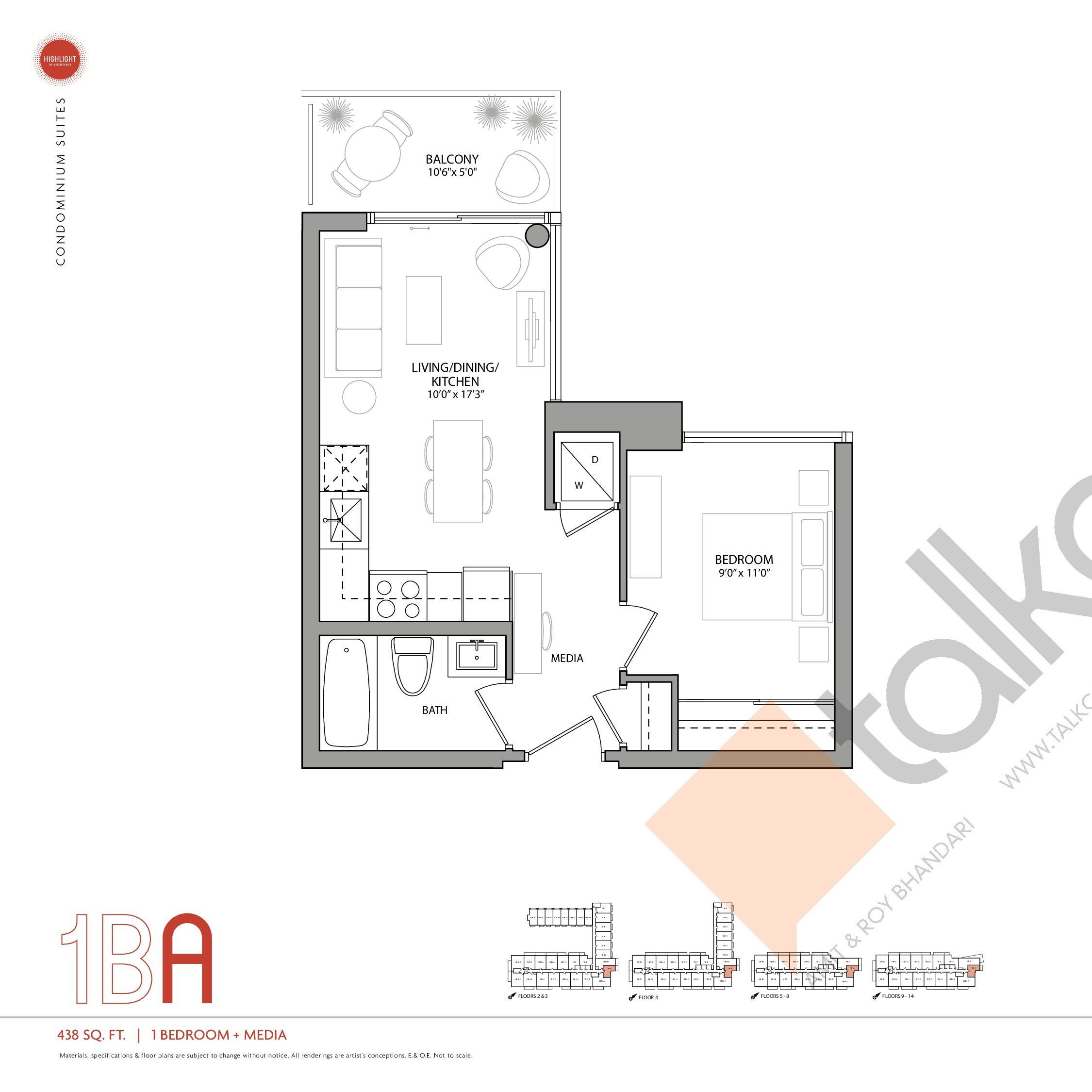 1BA Floor Plan at Highlight Condos and Towns - 438 sq.ft