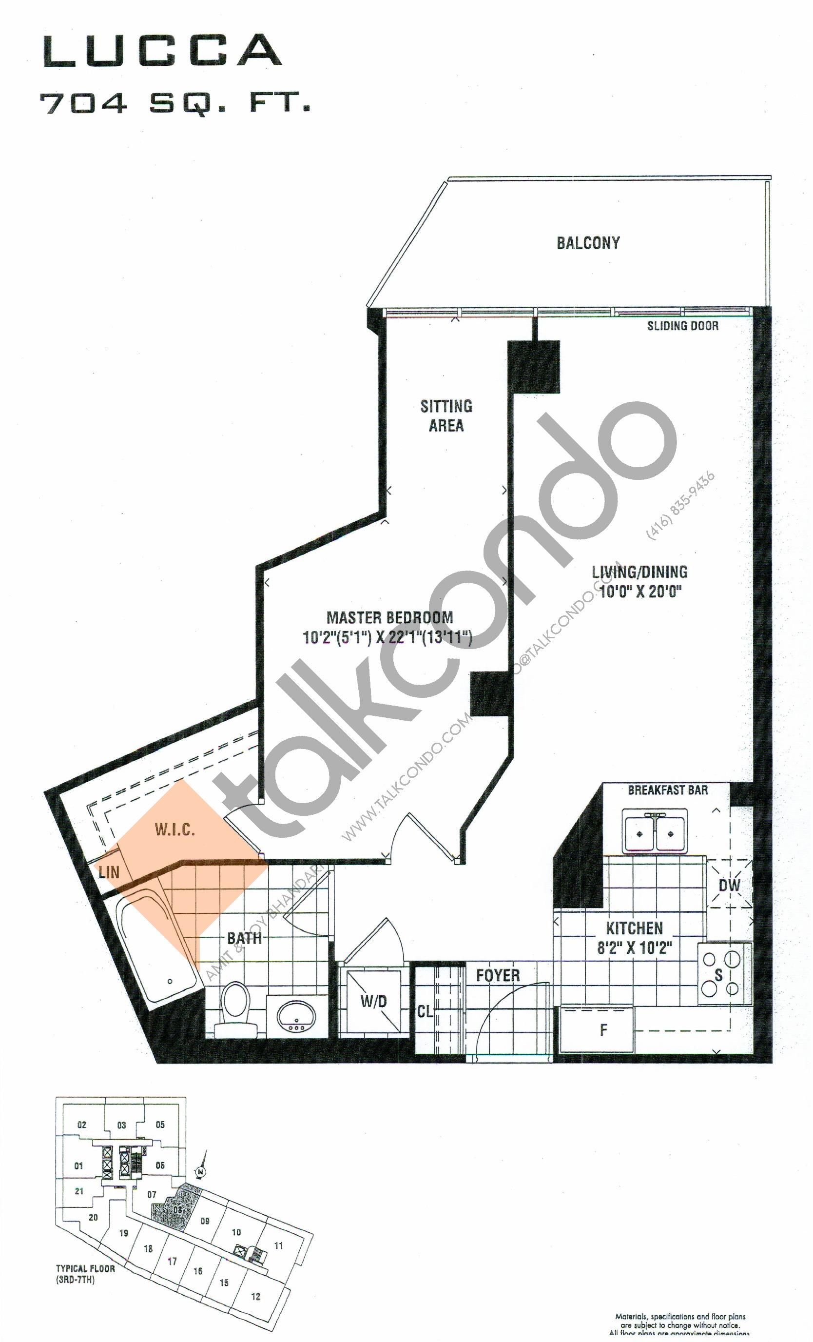 Lucca Floor Plan at Milan Condos - 704 sq.ft