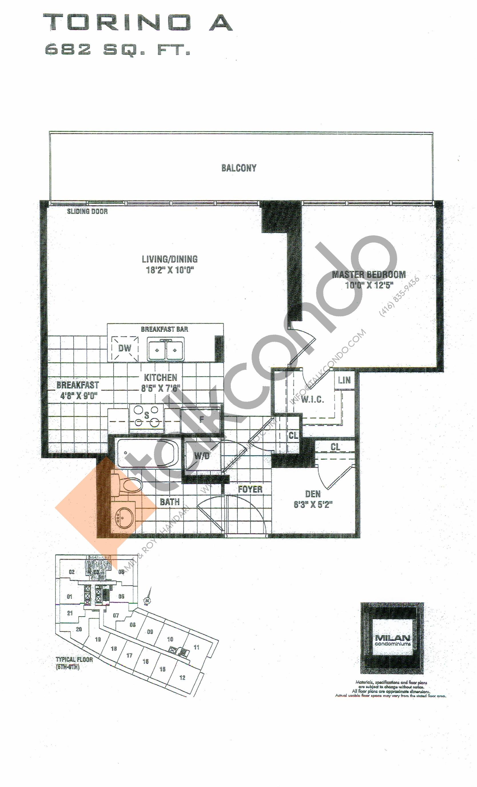 Torino A Floor Plan at Milan Condos - 682 sq.ft